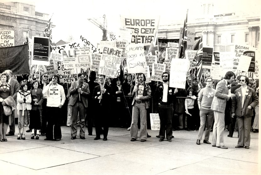 Pro-Common Market Youth Rally at Trafalgar Square,London, UK, 1975.