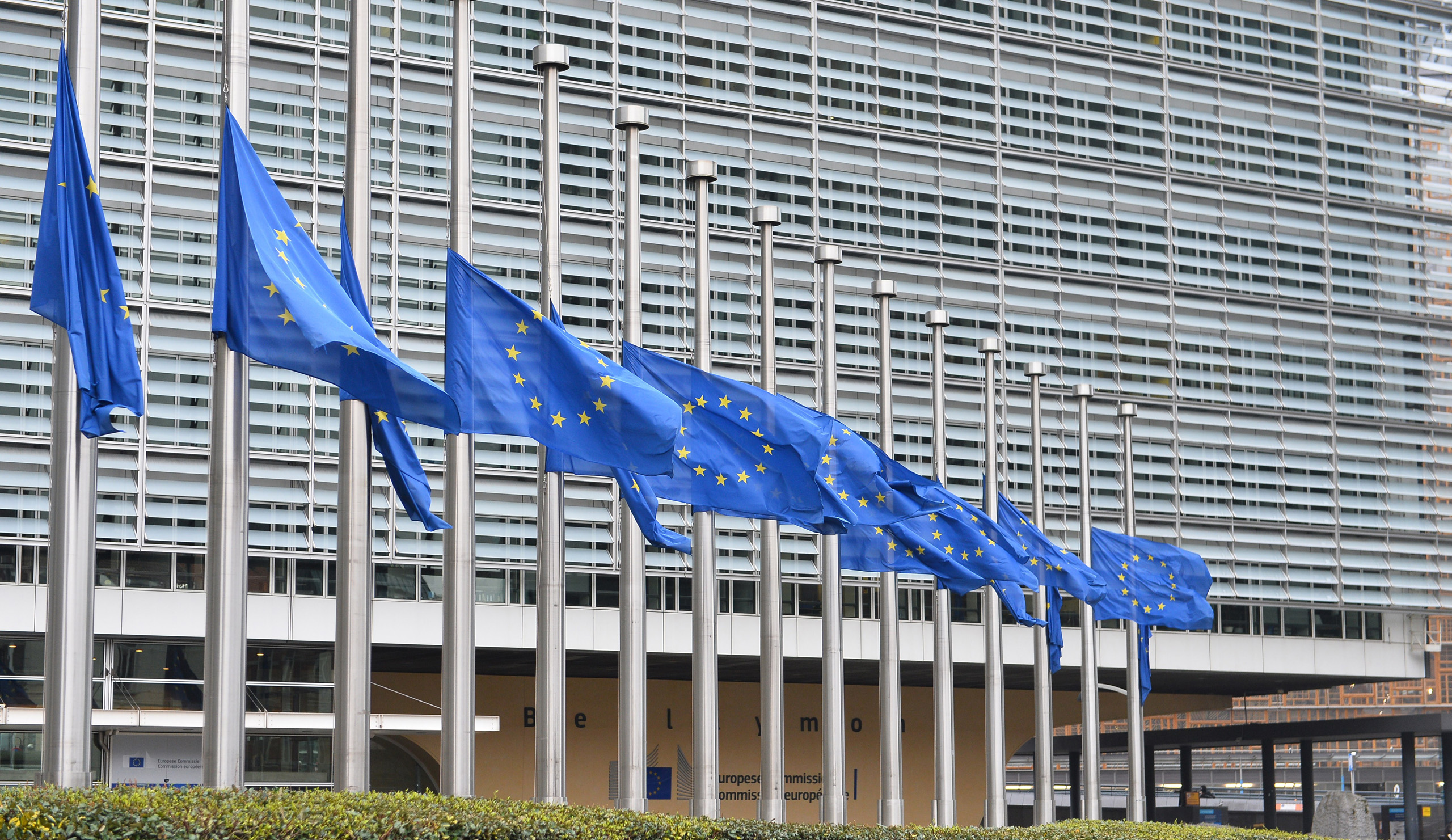 European flags in front of the EU Berlaymont building in the centre of Brussels on March 23, 2016.