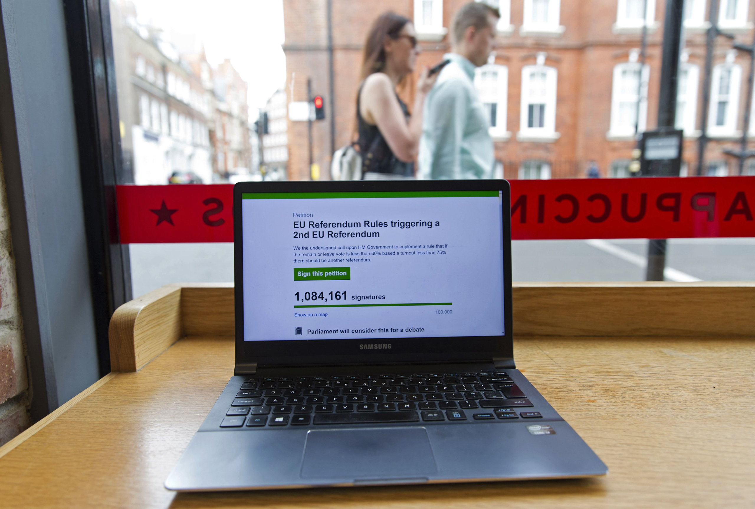 A laptop screen displays a parliamentary petition on the website of the British government, calling for a 2nd UK referendum on the UK's inclusion within the EU, following the pro-Brexit result of the June 23 vote to leave.