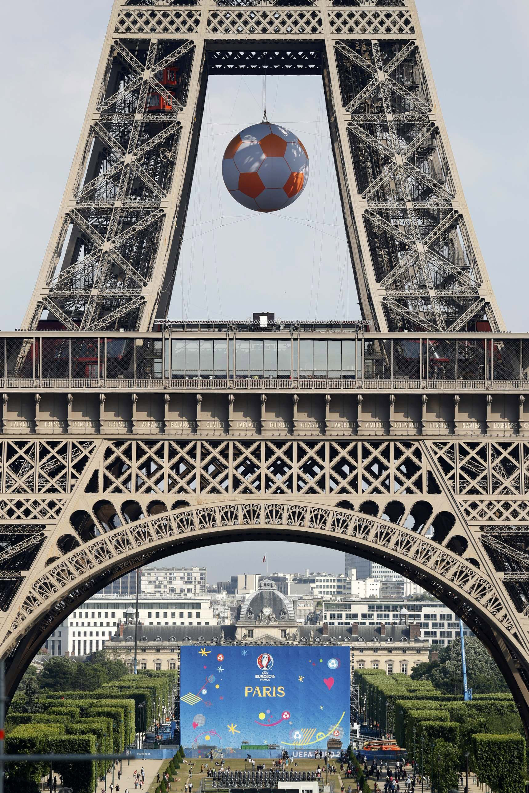 Fan zone at the Champs de Mars under the Eiffel Tower ahead of the UEFA 2016 European Championship in Paris,  June 7, 2016.