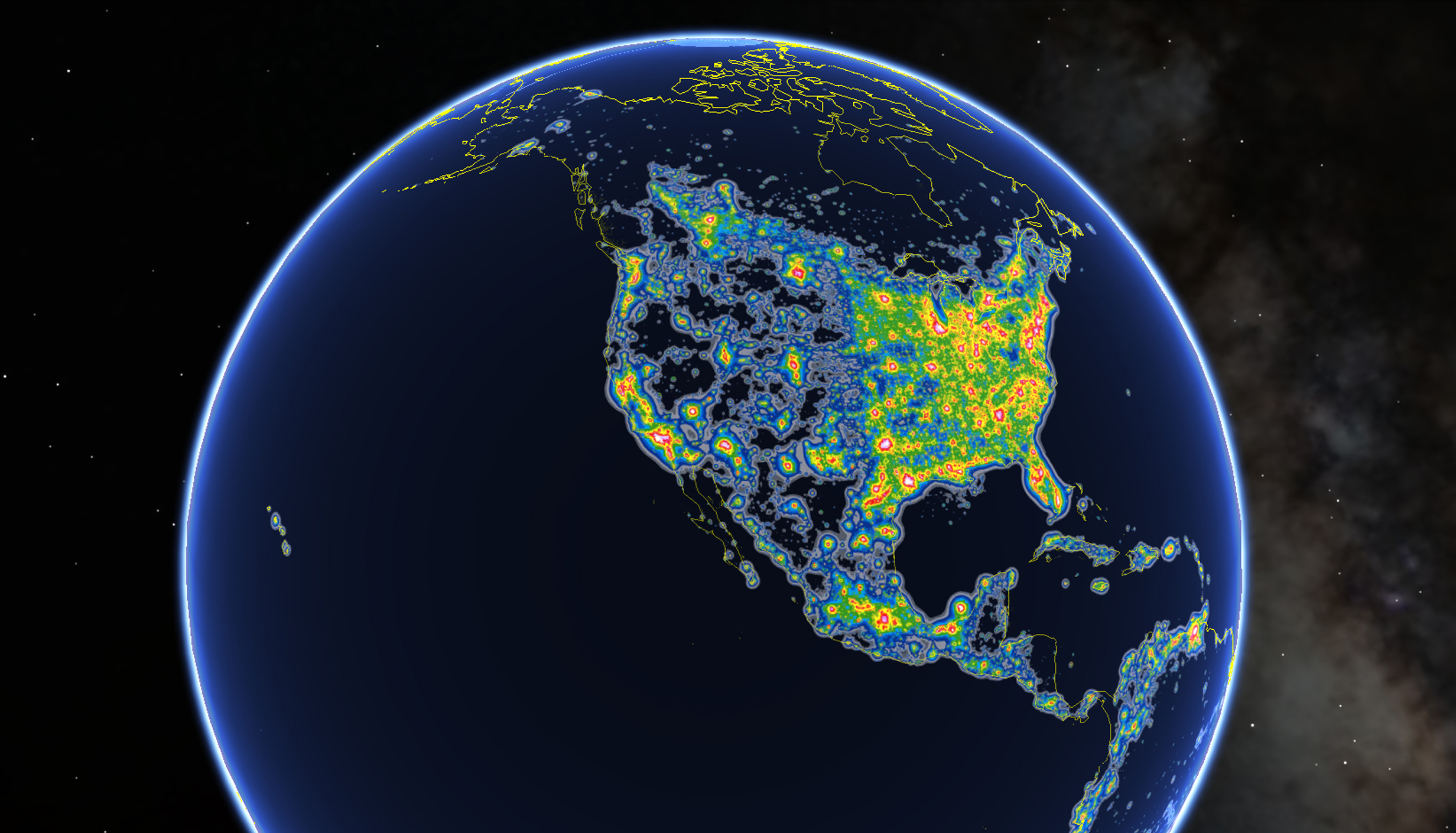North America in New World Atlas of Artificial Sky Brightness, as seen in Google Earth.