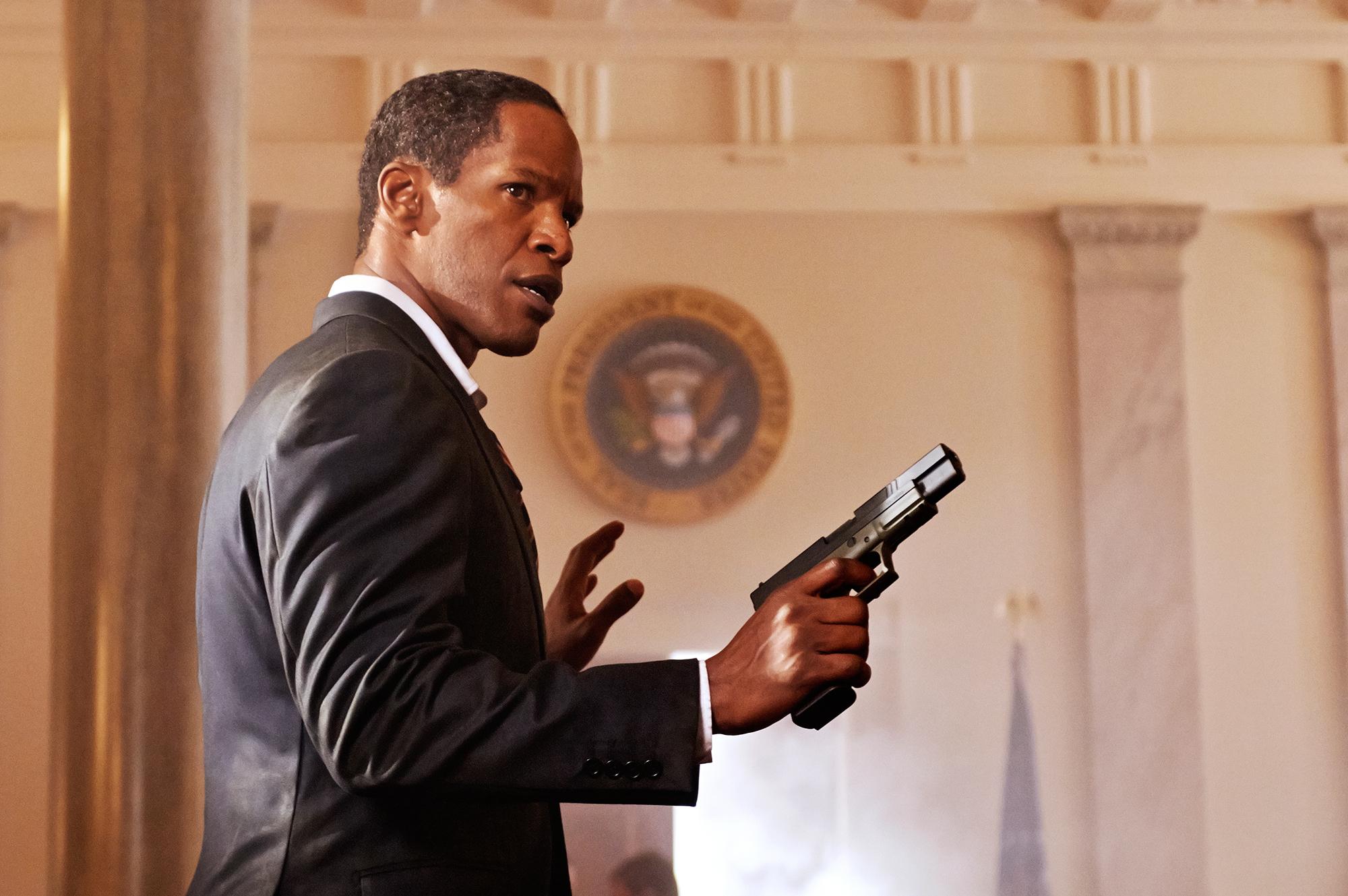 Jamie Foxx as James William Sawyer in White House Down, 2013.