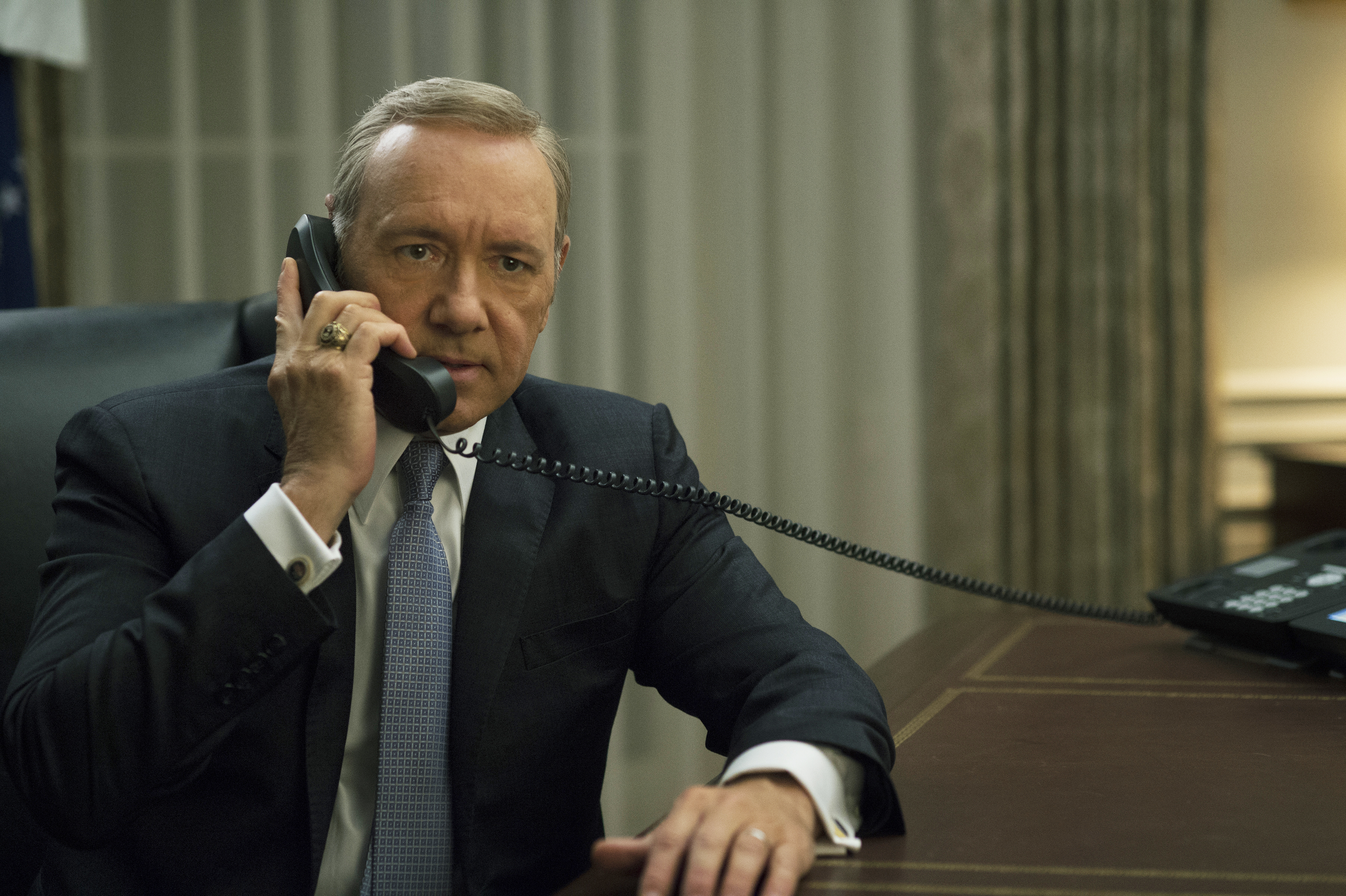 Kevin Spacey as Frank Underwood in House of Cards, 2014.