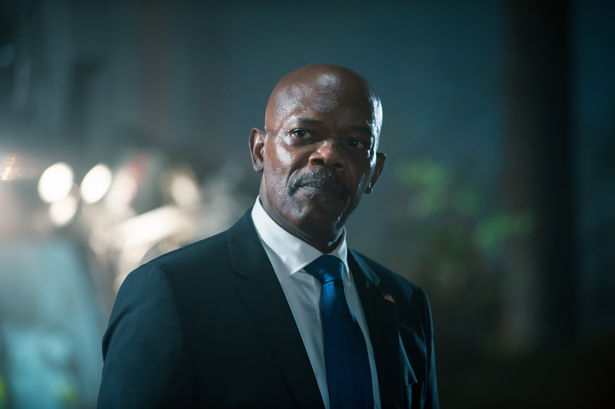 Samuel L. Jackson as William Alan Moore in Big Game, 2014.