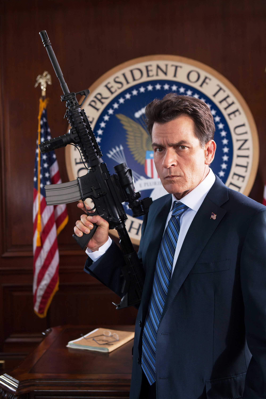 Charlie Sheen as President Rathcock in Machete Kills, 2013.