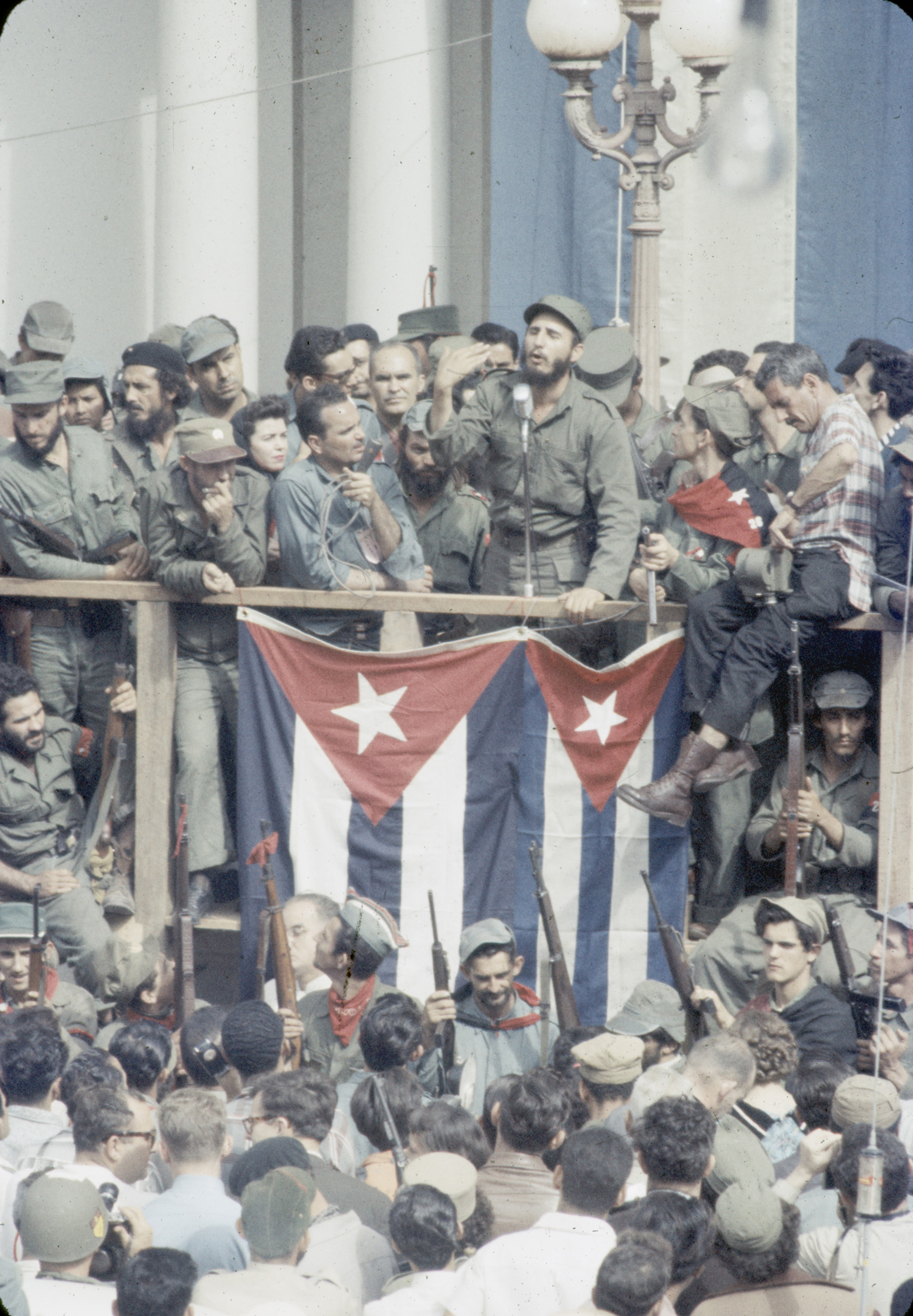 Cuban leader Fidel Castro speaks to the people of Santa Clara in the town square, 1959.