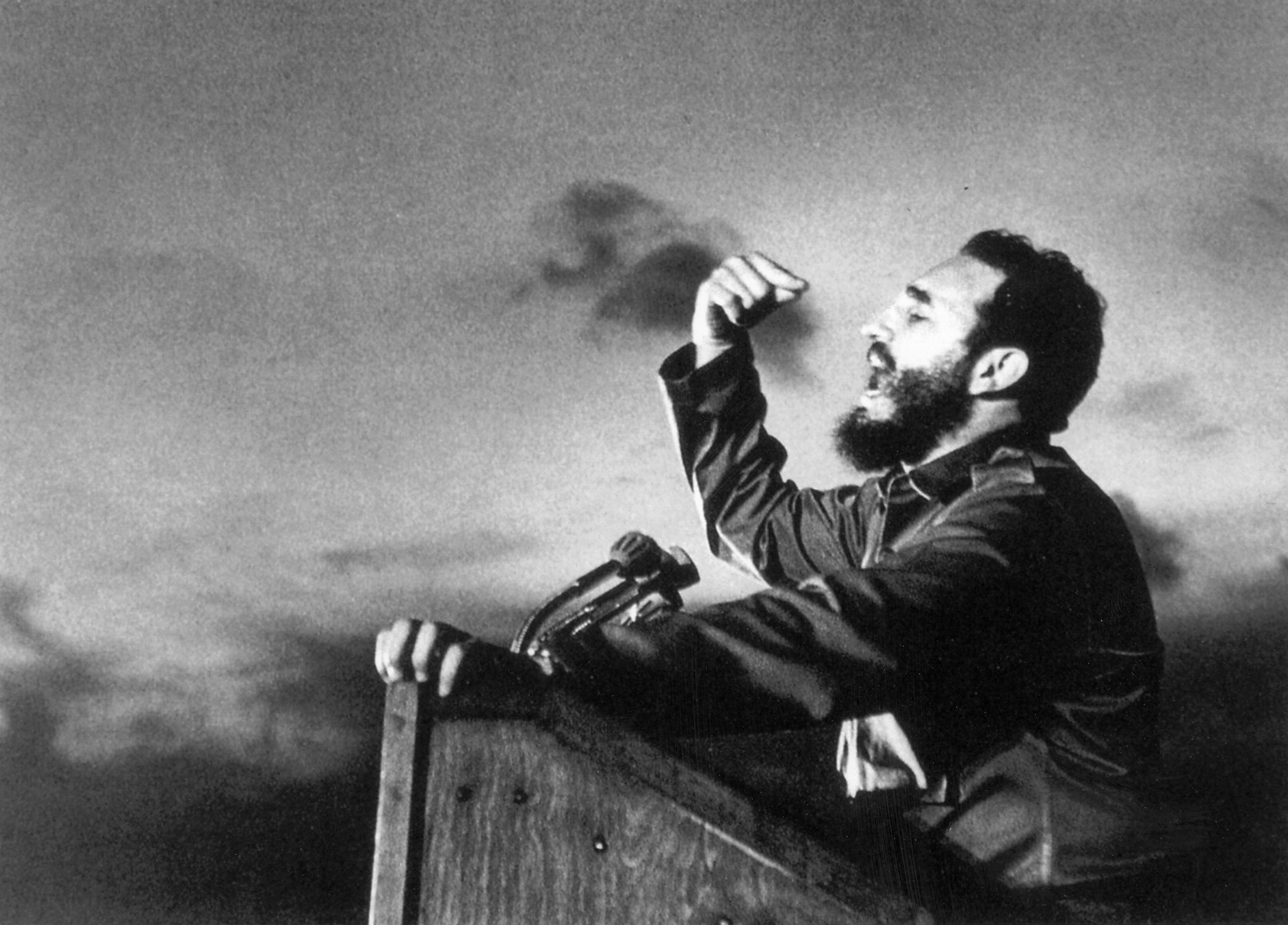 Fidel Castro, a master orator, delivers a speech circa 1960.