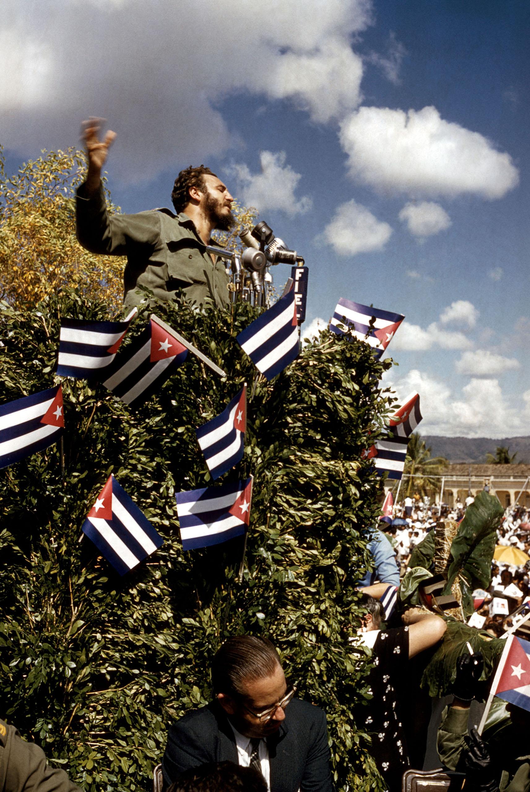 Cuba's Fidel Castro delivers a speech in 1960.