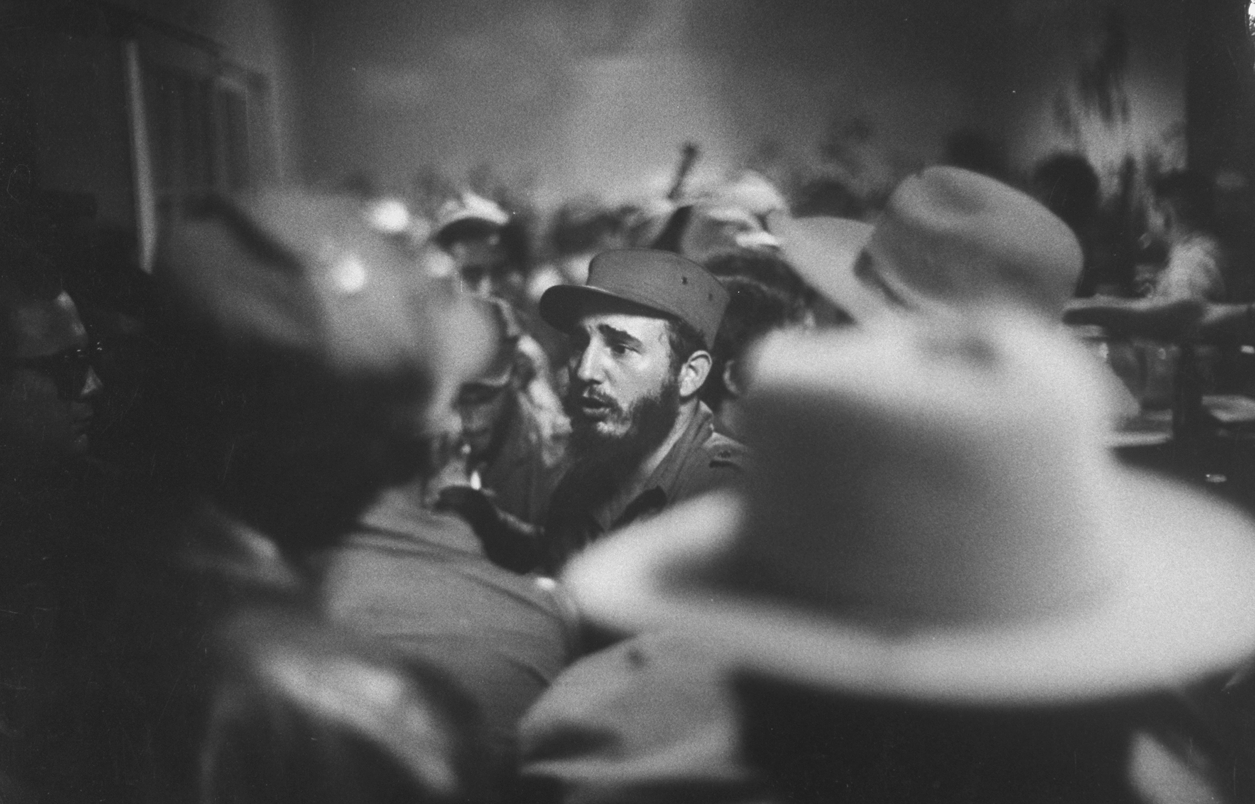 Rebel leader Fidel Castro being cheered by the crowds on his victorious march to Havana.