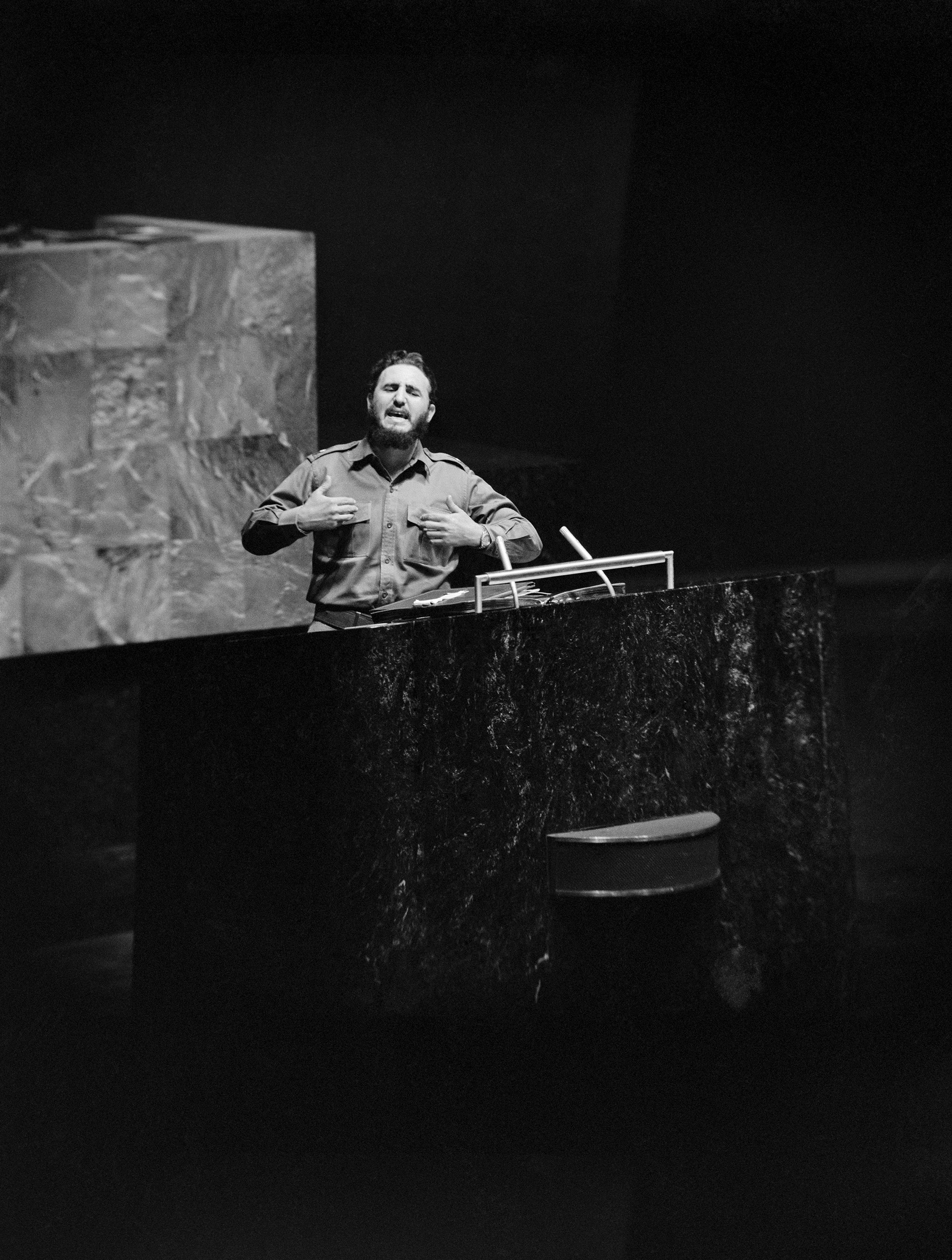 Cuban President Fidel Castro delivers a long-winded speech, heaping abuse on the U.S., at the United Nations in New York on Sept. 26, 1960.