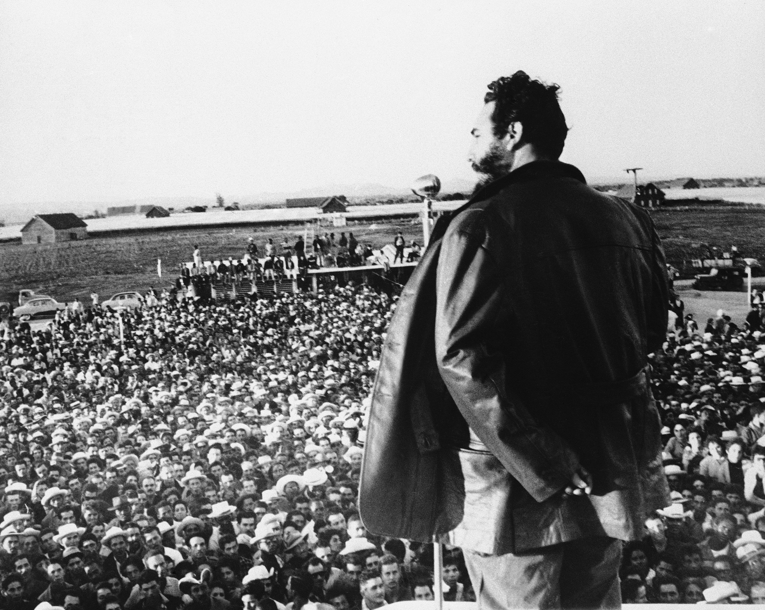Fidel Castro speaks to tobacco workers for whom he founded a new workers' town in Pinar del Rio, Cuba, on April 9, 1960.