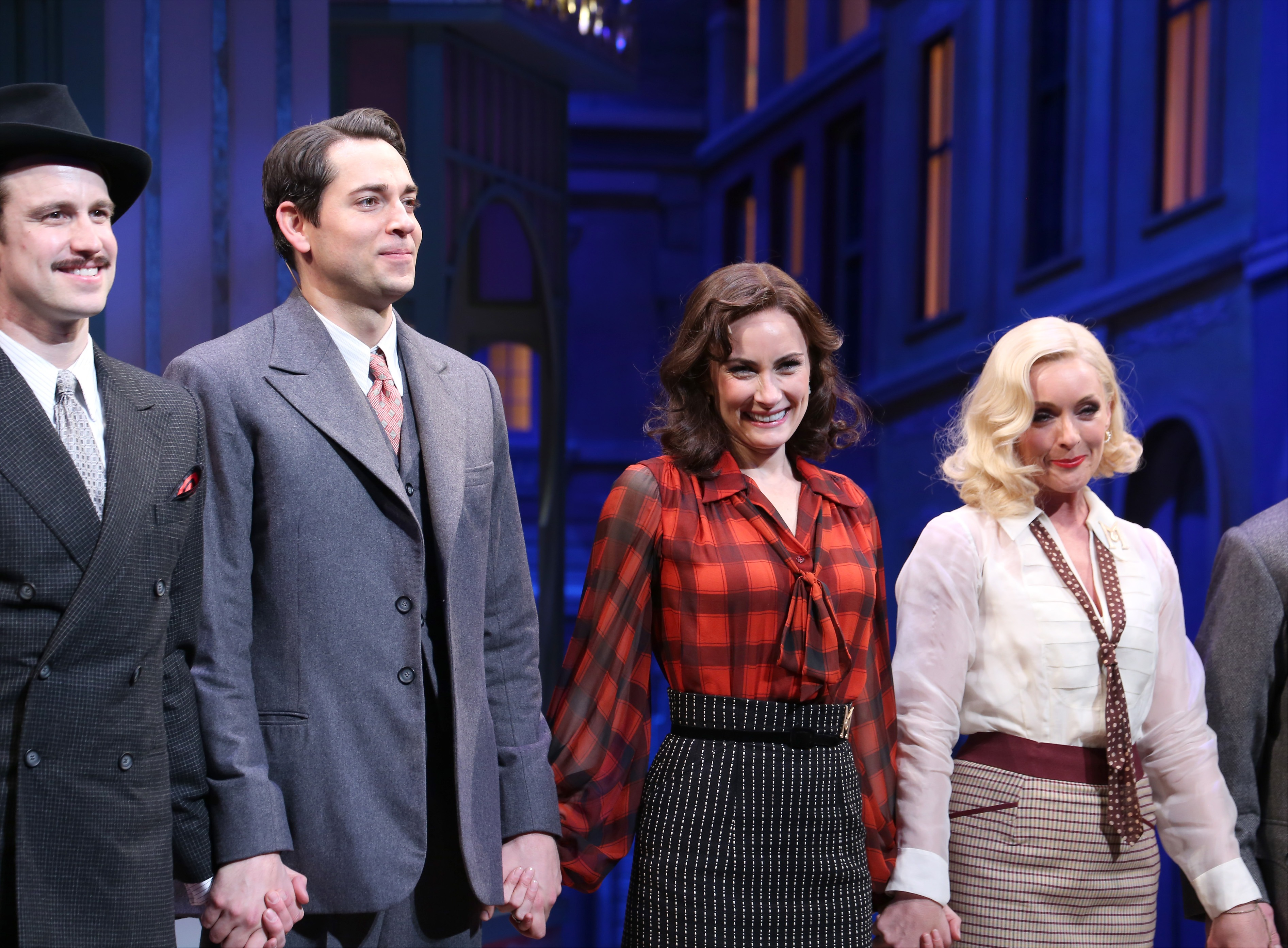 Gavin Creel, Zachary Levi, Laura Benanti, Jane Krakowski during the Broadway Opening Night Performance curtain call bows for 'She Loves Me' at Studio 54 on March 17, 2016 in New York City.