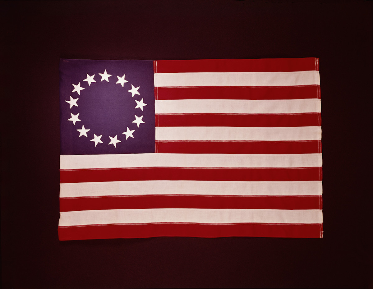 1776 Colonial U.S. flag, showing 13 stars, photographed circa 1950