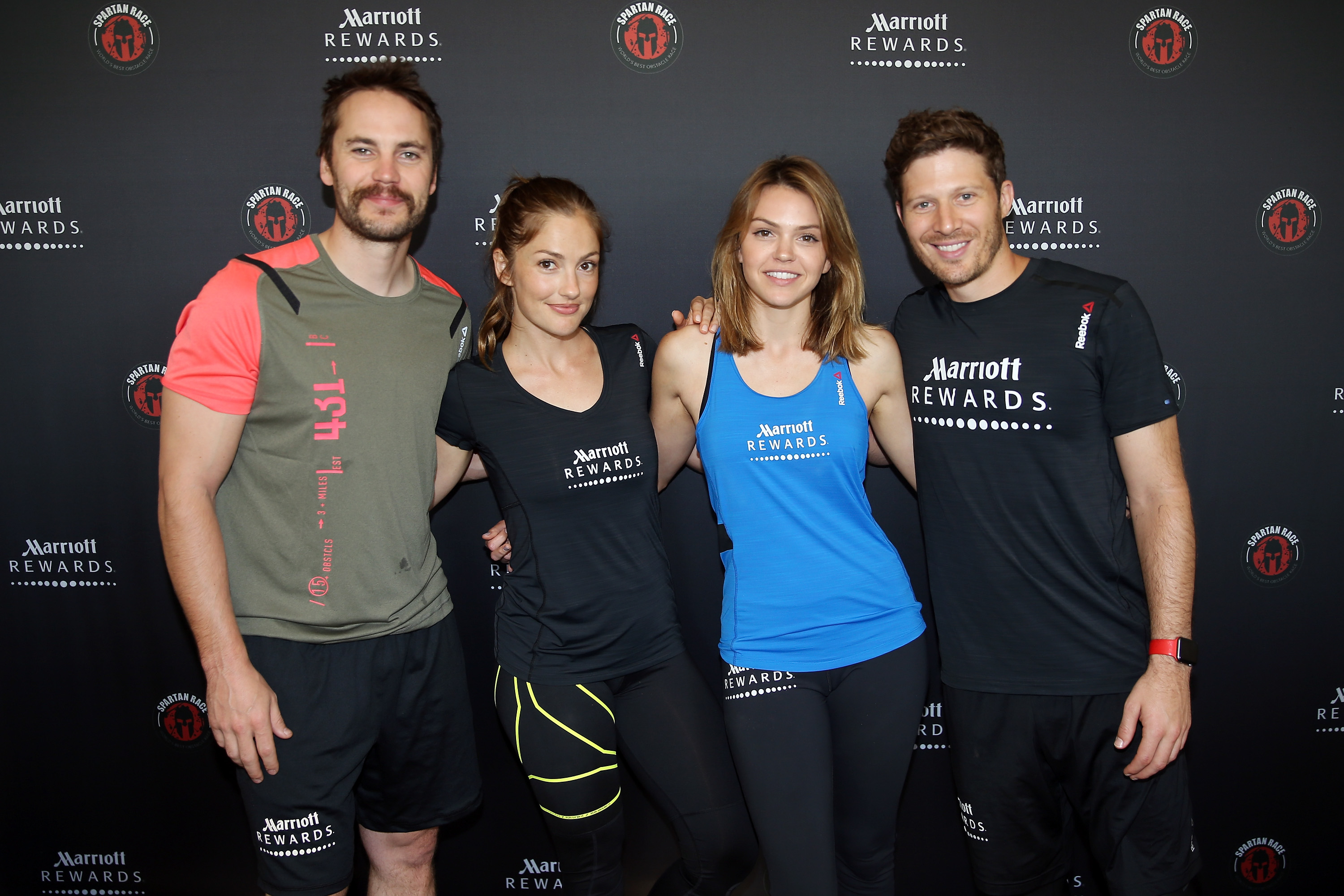 RICHMOND, IL - JUNE 11:  Taylor Kitsch, Minka Kelly, Aimee Teegarden and Zach Gilford attend as Marriott Rewards reunites Taylor Kitsch, Minka Kelly, Zach Gilford and Aimee Teegarden of  Friday Night Lights  for Spartan Super Race on June 11, 2016 in Richmond, Illinois.  (Photo by Tasos Katopodis/Getty Images for Marriott)