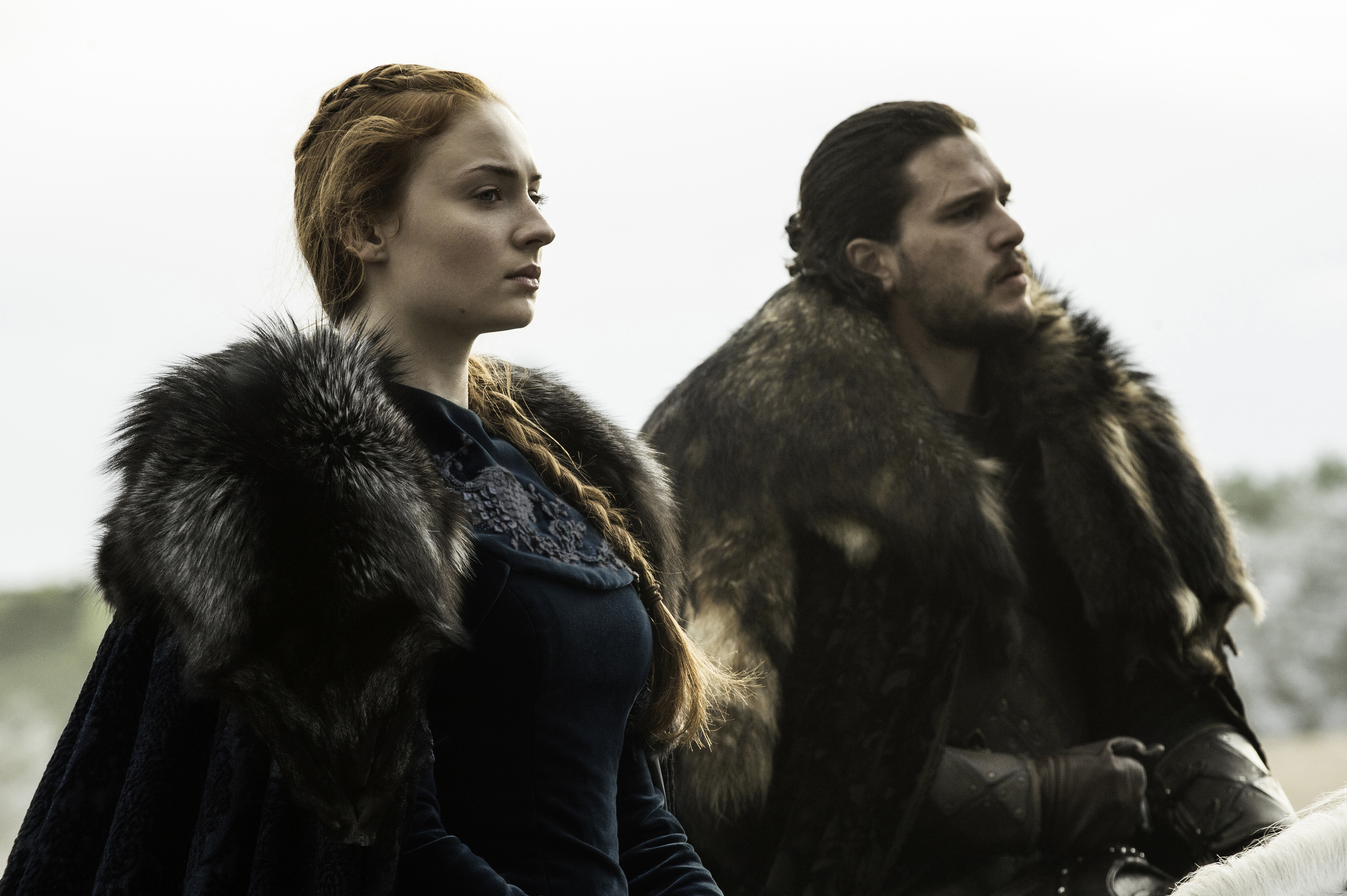 Sophie Turner and Kit Harington in Game of Thrones, season 6, episode 9.