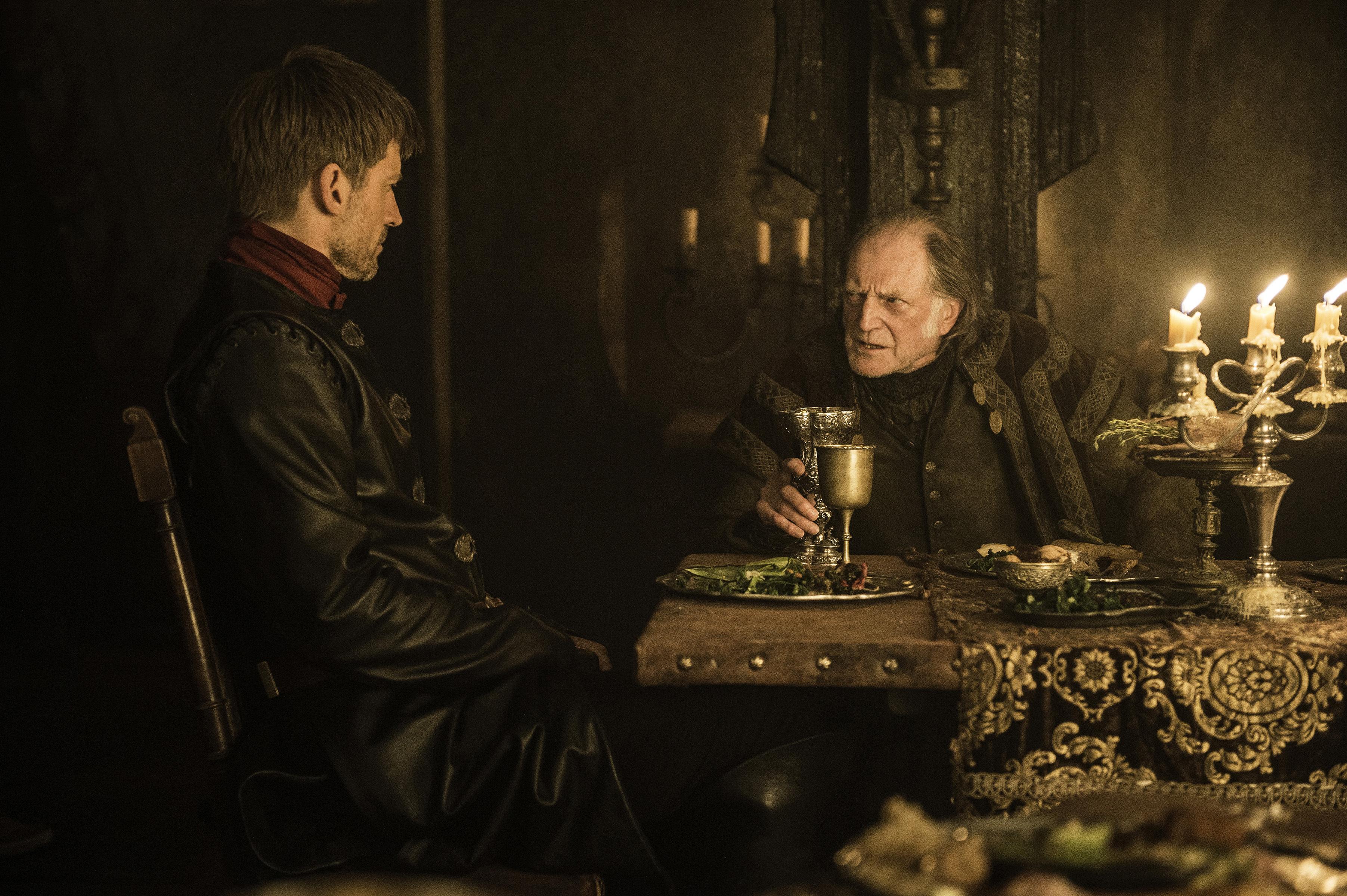 Nikolaj Coster-Waldau and David Bradley in Game of Thrones season 6, episode 10.