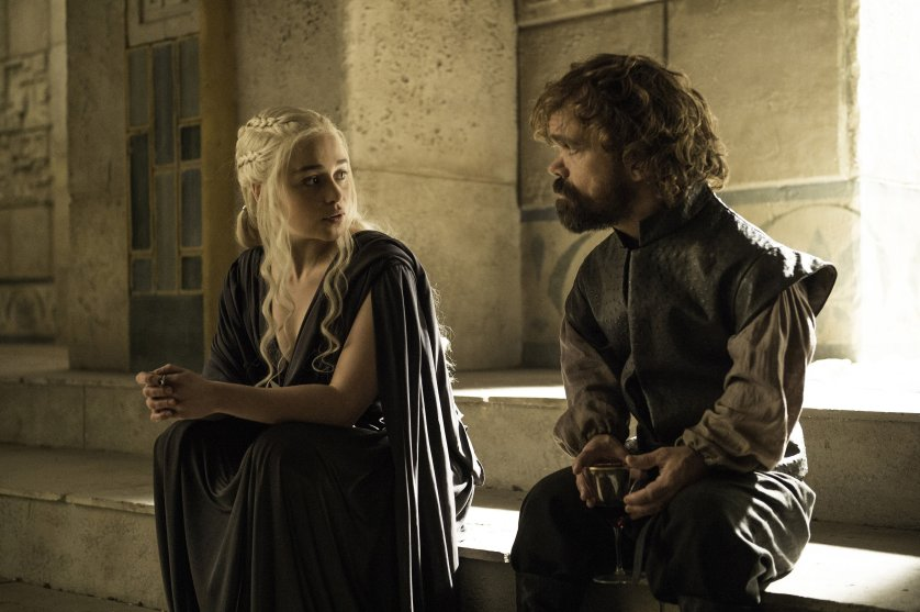 Emilia Clarke and Peter Dinklage in Game of Thrones season 6, episode 10.
