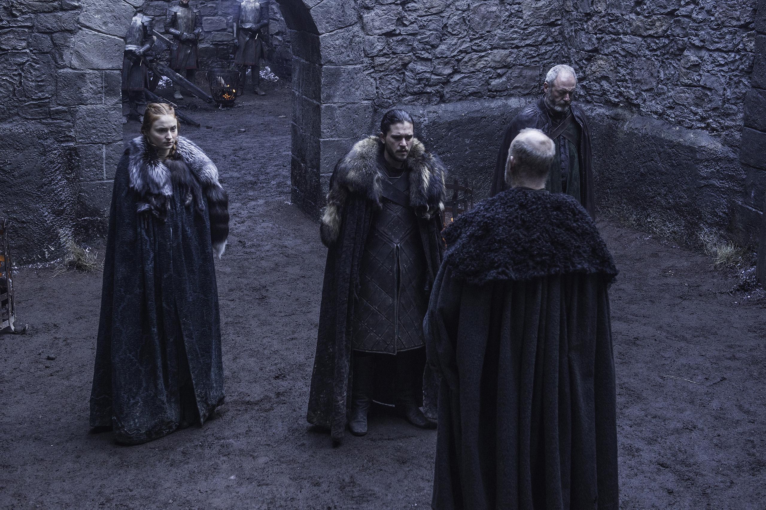 Sophie Turner (Sansa Stark), Kit Harington (Jon Snow), and Tim McInnerny (Robert Glover) in Game of Thrones.