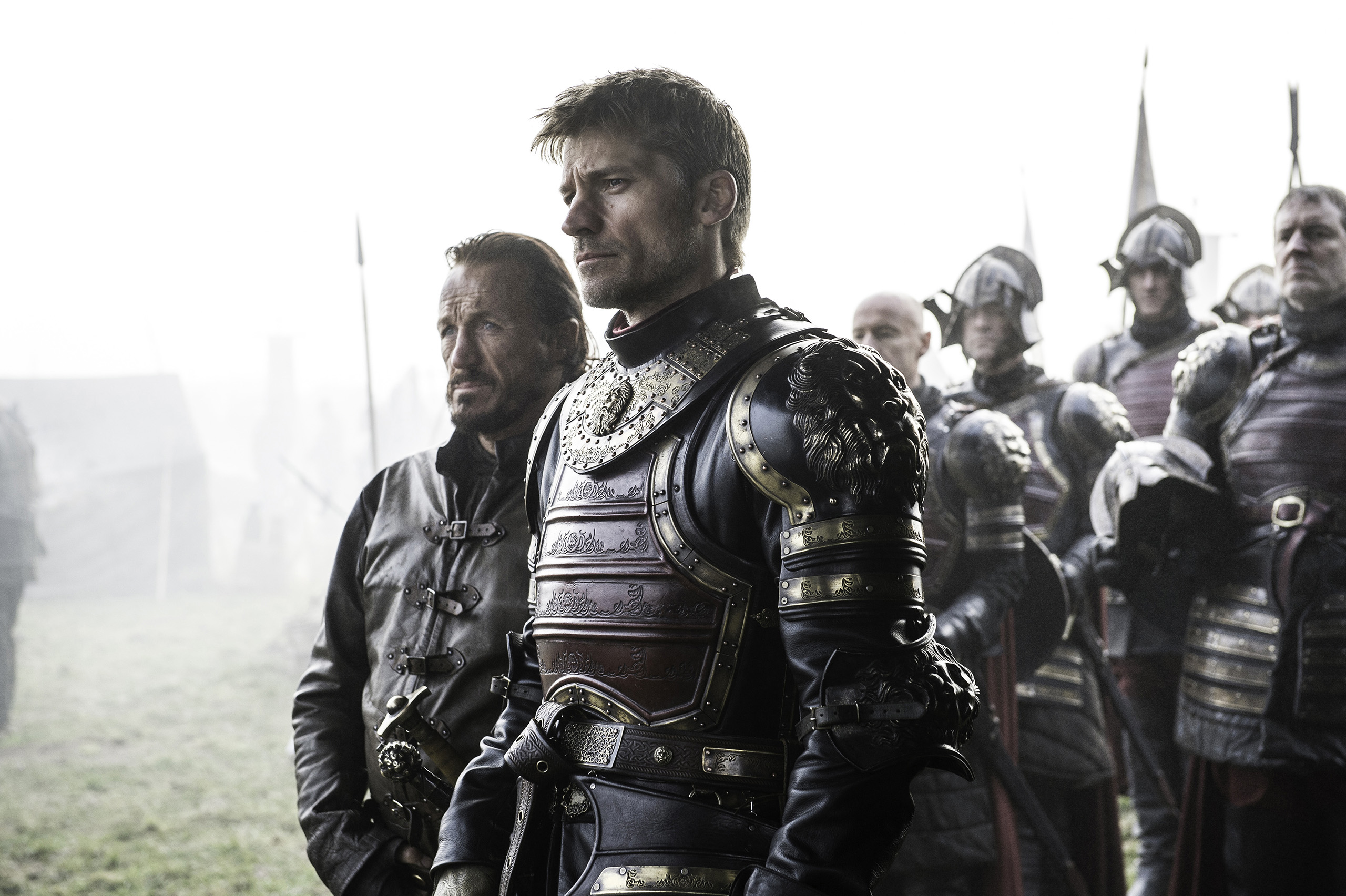 Jerome Flynn (Bronn) and Nikolaj Coster-Waldau (Jaime Lannister) in Game of Thrones.