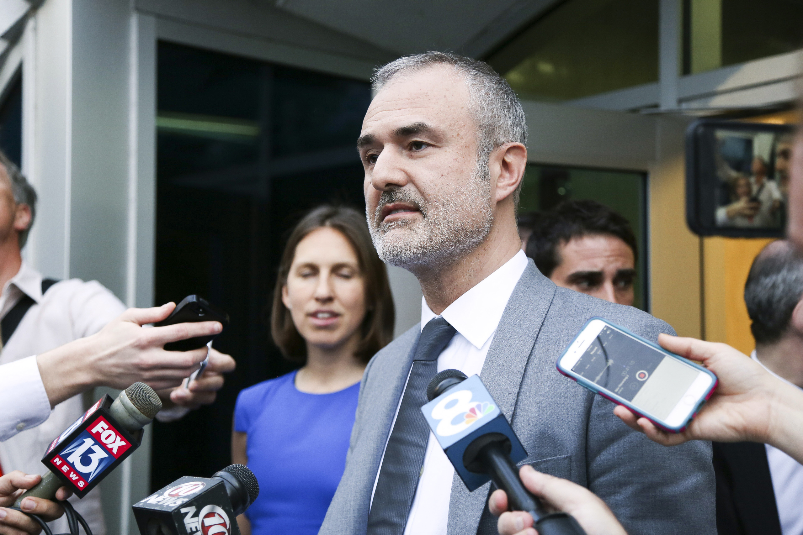 Gawker founder Nick Denton speaks to the media, in St. Petersburg, Fla. on March 18, 2016.