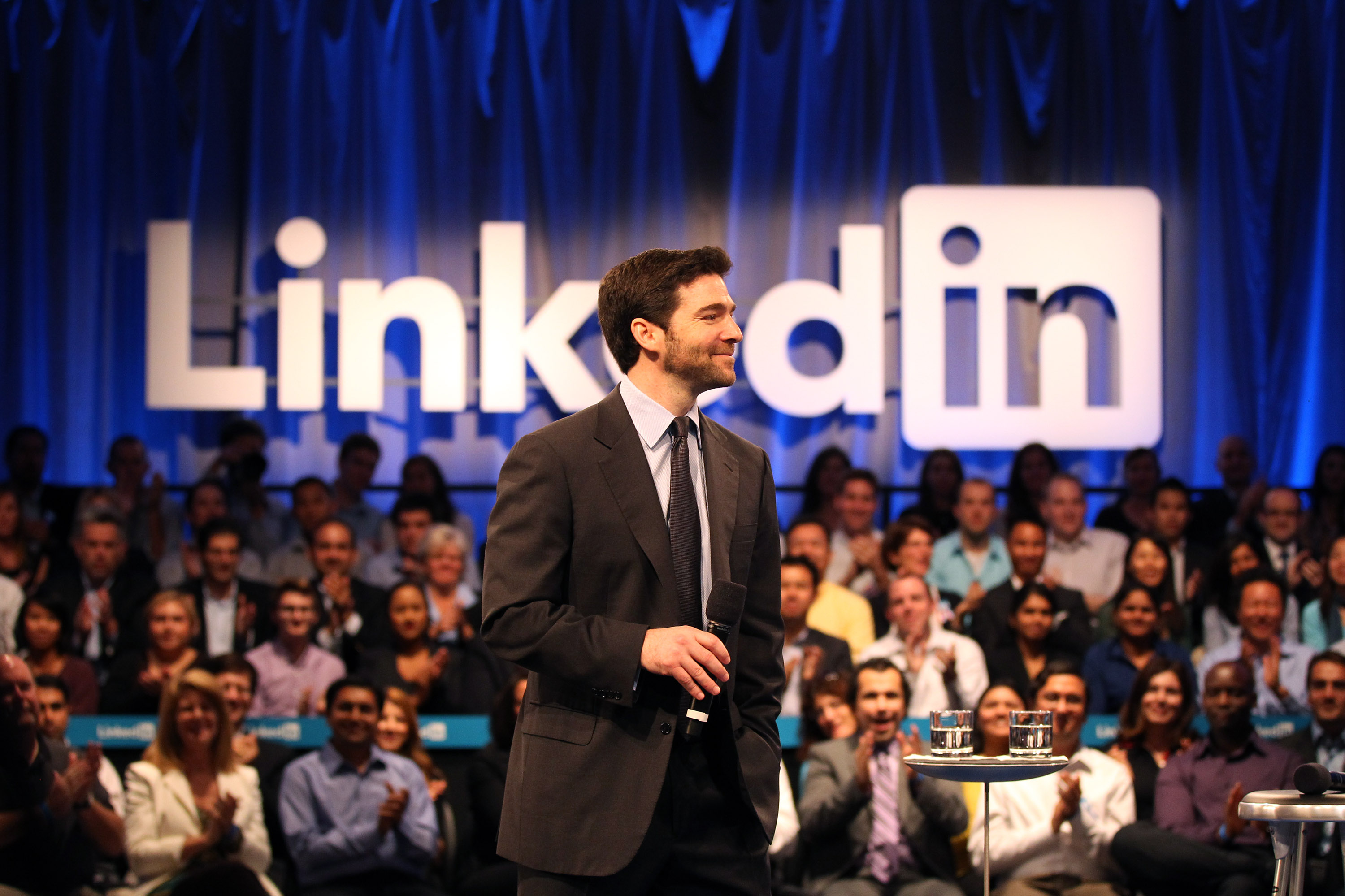 Linkedin CEO Jeff Weiner speaks to the audience prior to a town hall meeting with U.S. President Barack Obama at the Computer History Museum on September 26, 2011 in Mountain View, California.