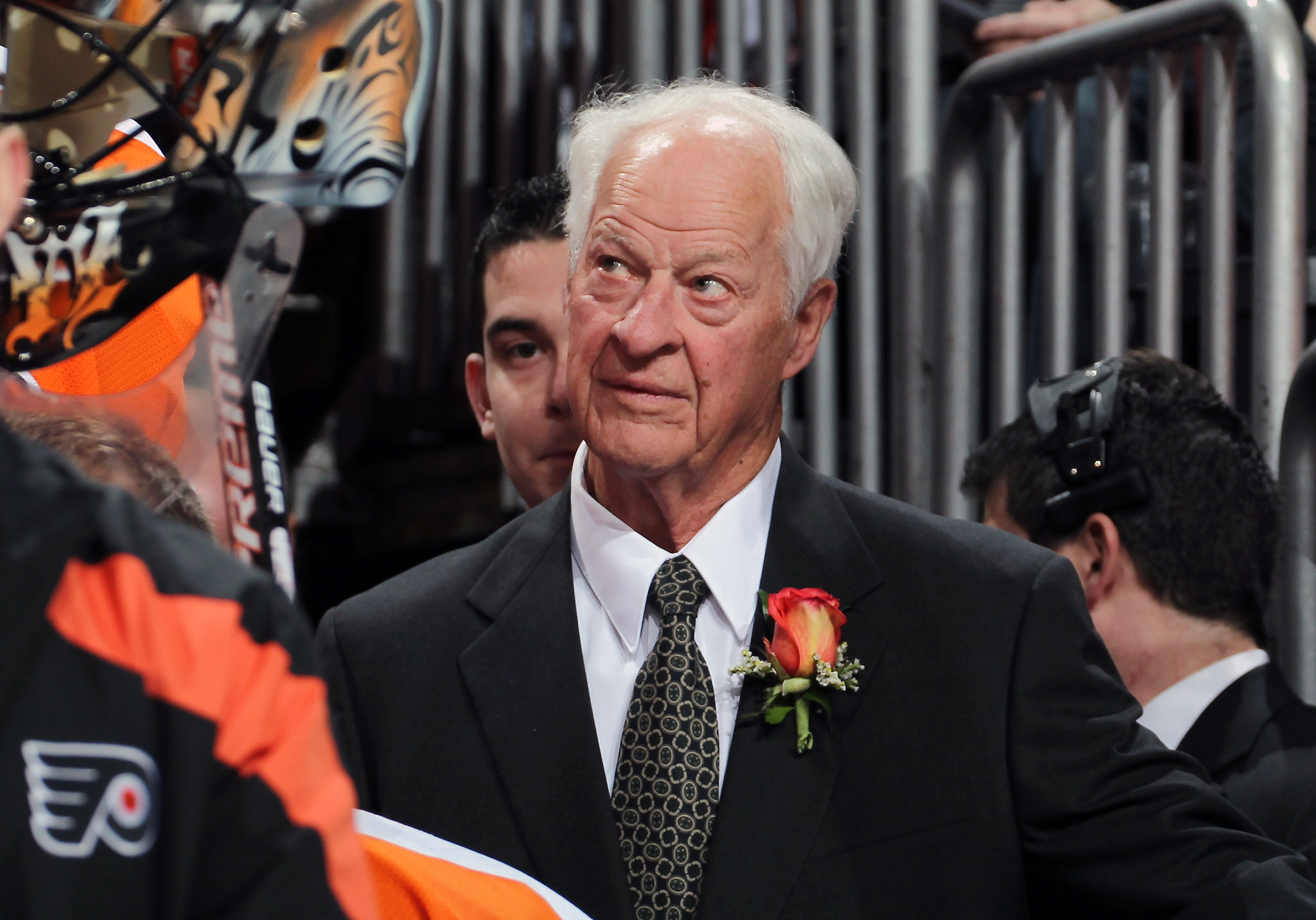 Gordie Howe looks on during a number retirement ceremony held for his son Mark Howe of the Philadelphia Flyers on March 6, 2012.