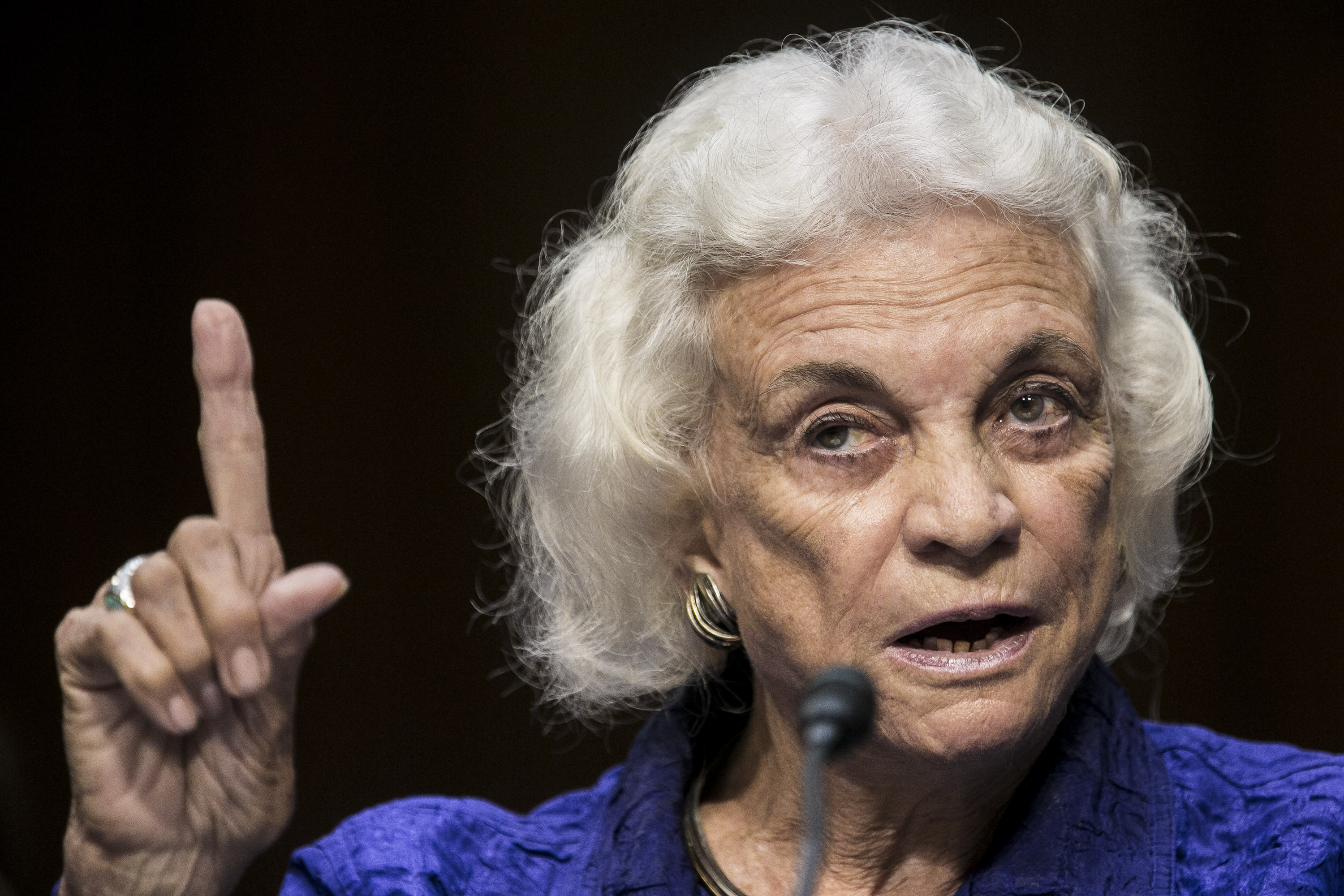 Former Supreme Court Justice Sandra Day O'Connor testifies before the Senate Judiciary Committee on July 25, 2012 in Washington, DC.  (T.J. Kirkpatrick--Getty Images)