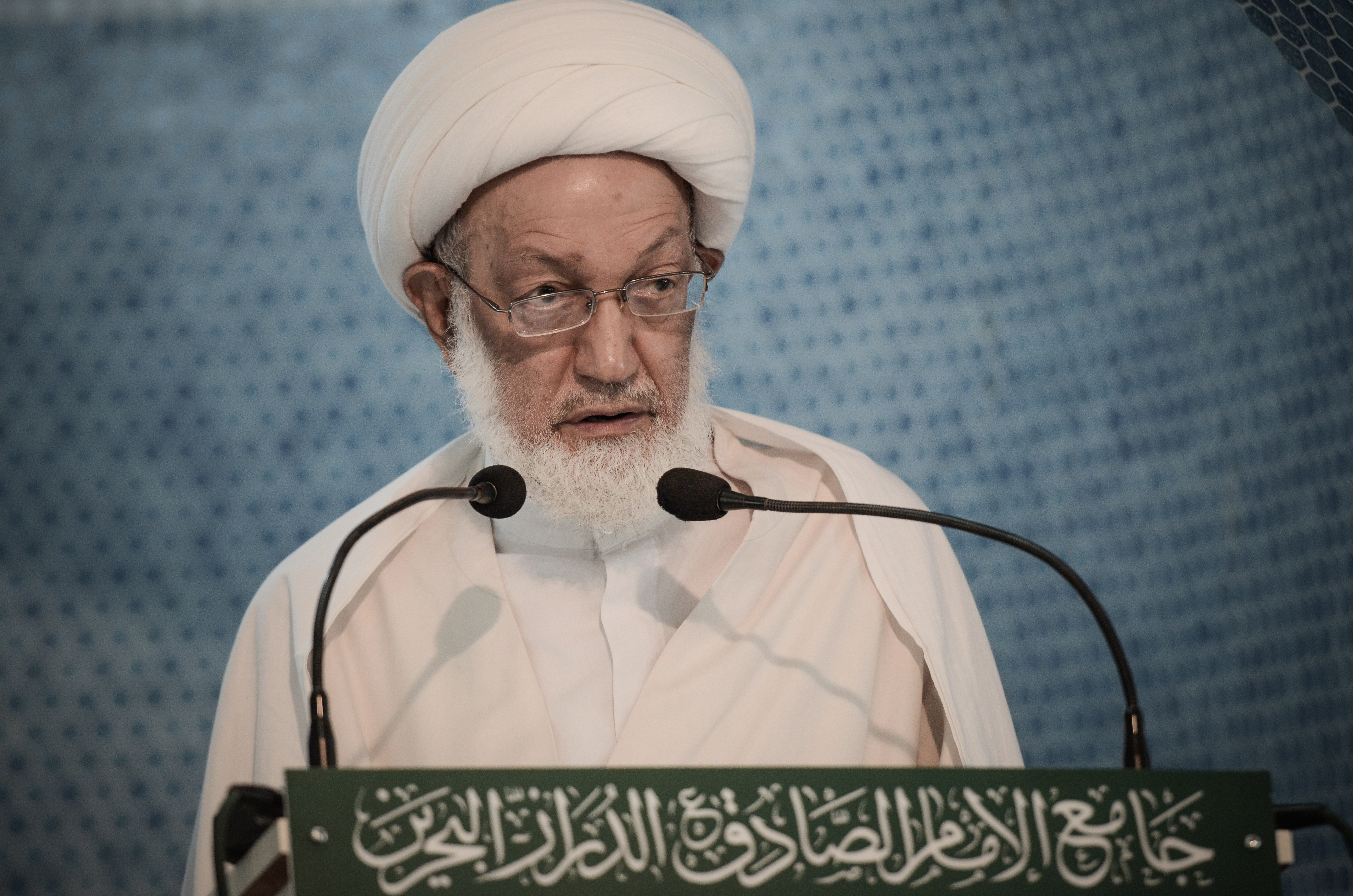 Bahraini top senior Shi'ite cleric, Sheik Isa Qassim, gives a speech to worshippers during Friday prayer at a mosque in the village of Diraz, west of Bahrain's capital Manama, on May 17, 2013