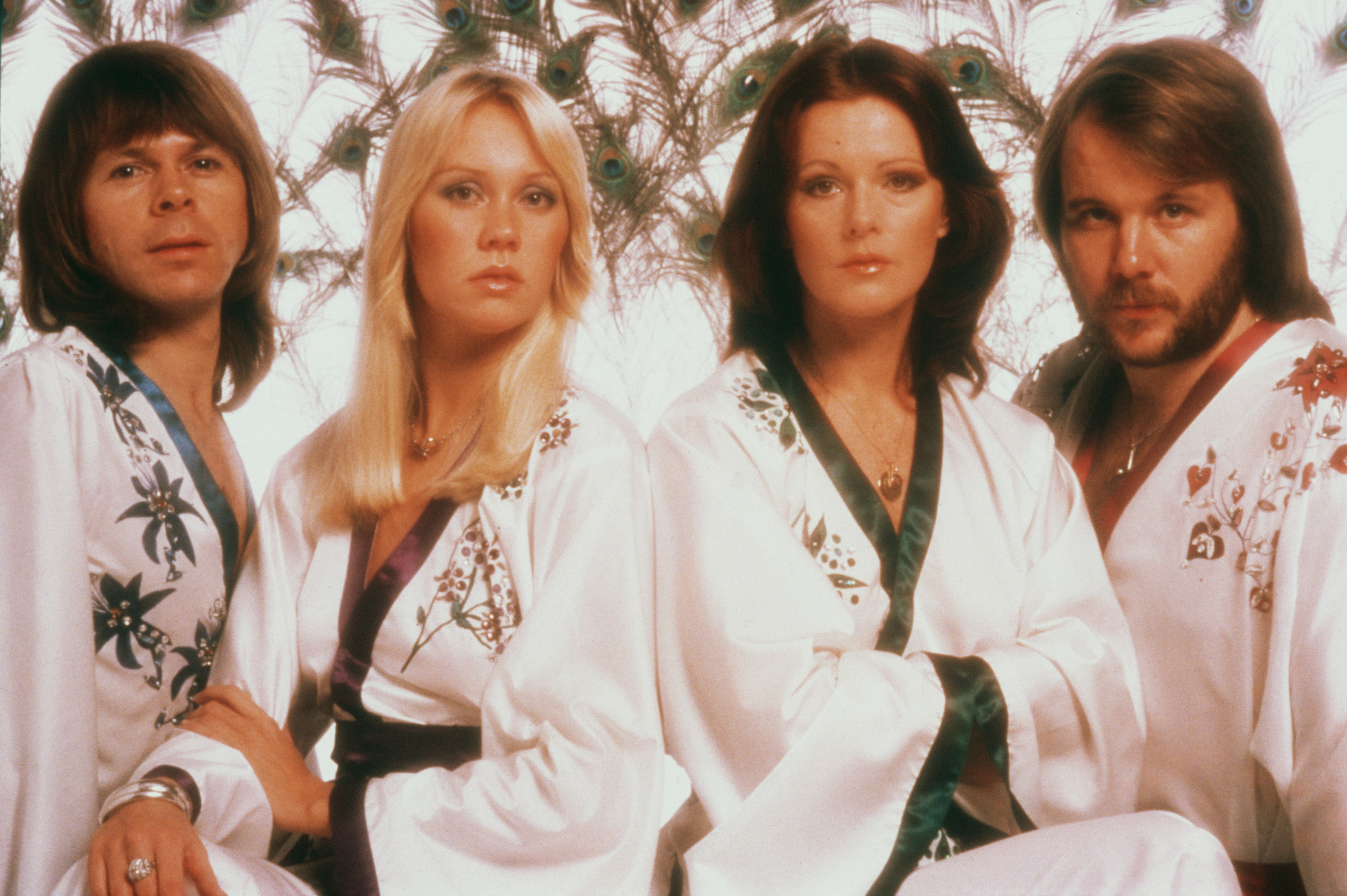 Swedish pop group Abba from left to right: Bjorn Ulvaeus, Agnetha Faltskog, Frida Lyngstad and Benny Andersson in 1976.