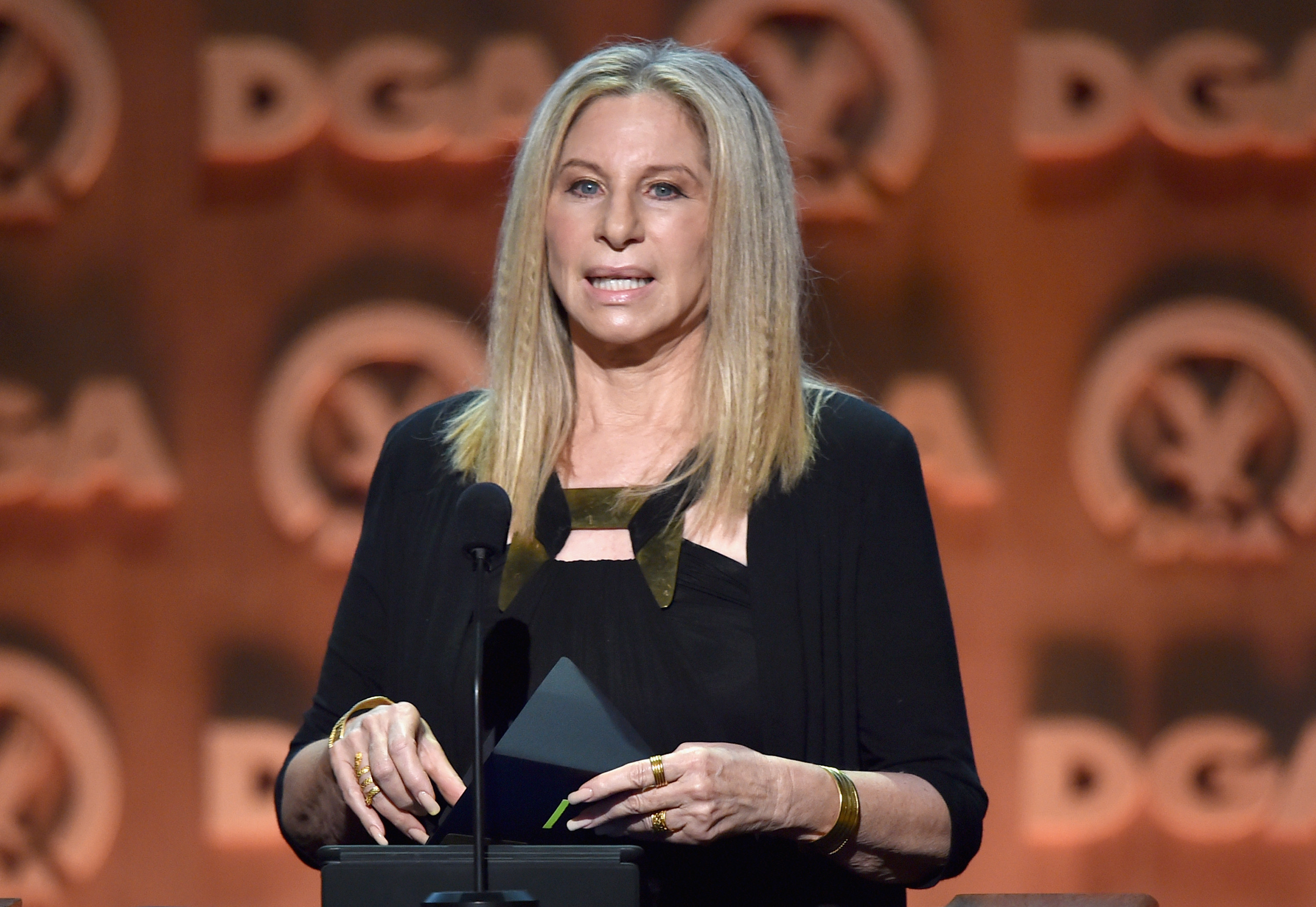 Entertainer Barbra Streisand speaks onstage at the 67th Annual Directors Guild Of America Awards at the Hyatt Regency Century Plaza on Feb. 7, 2015, in Century City, Calif.