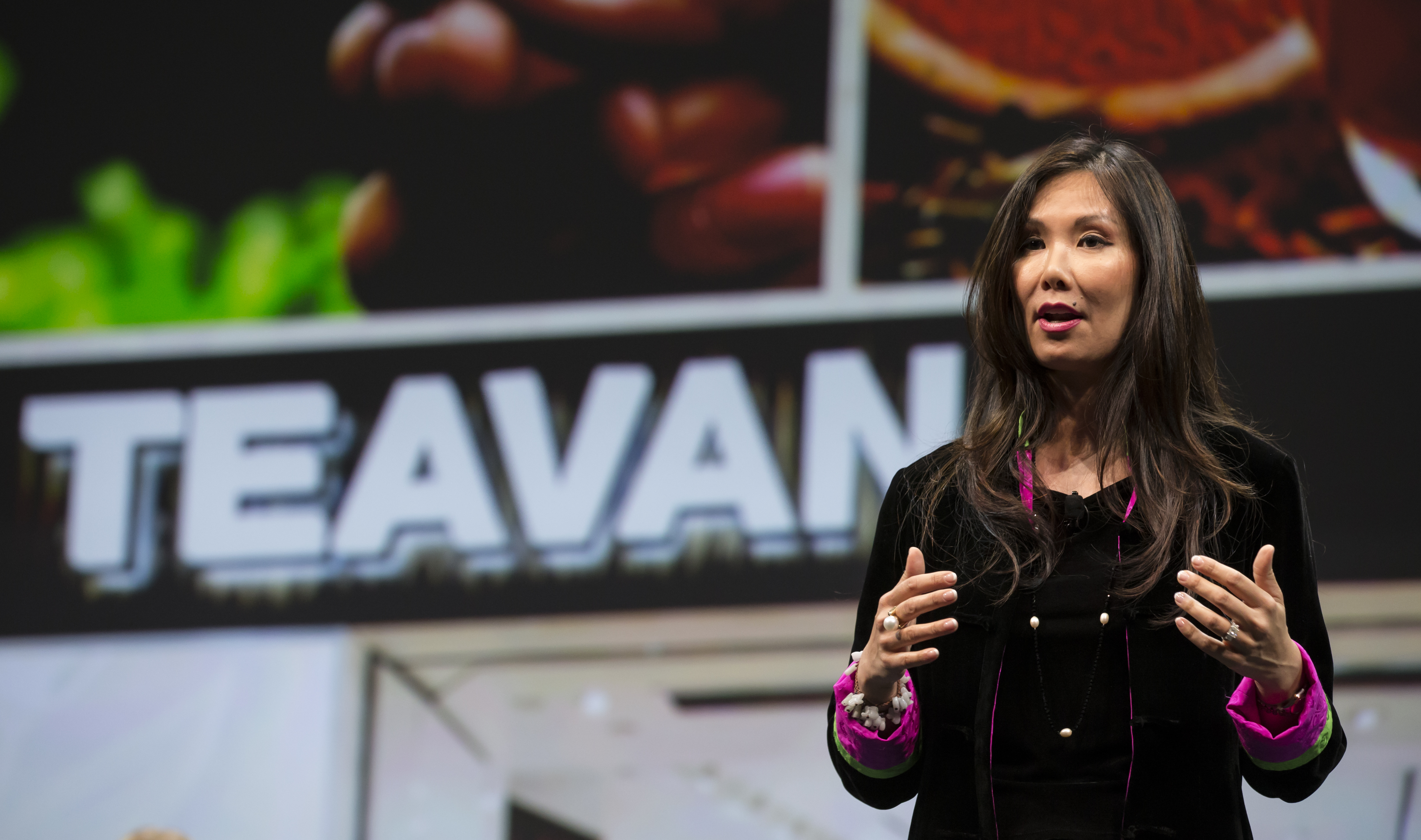 Teavana president Annie Young-Scrivner speaks during Starbucks annual shareholders meeting March 18, 2015 in Seattle, Washington.