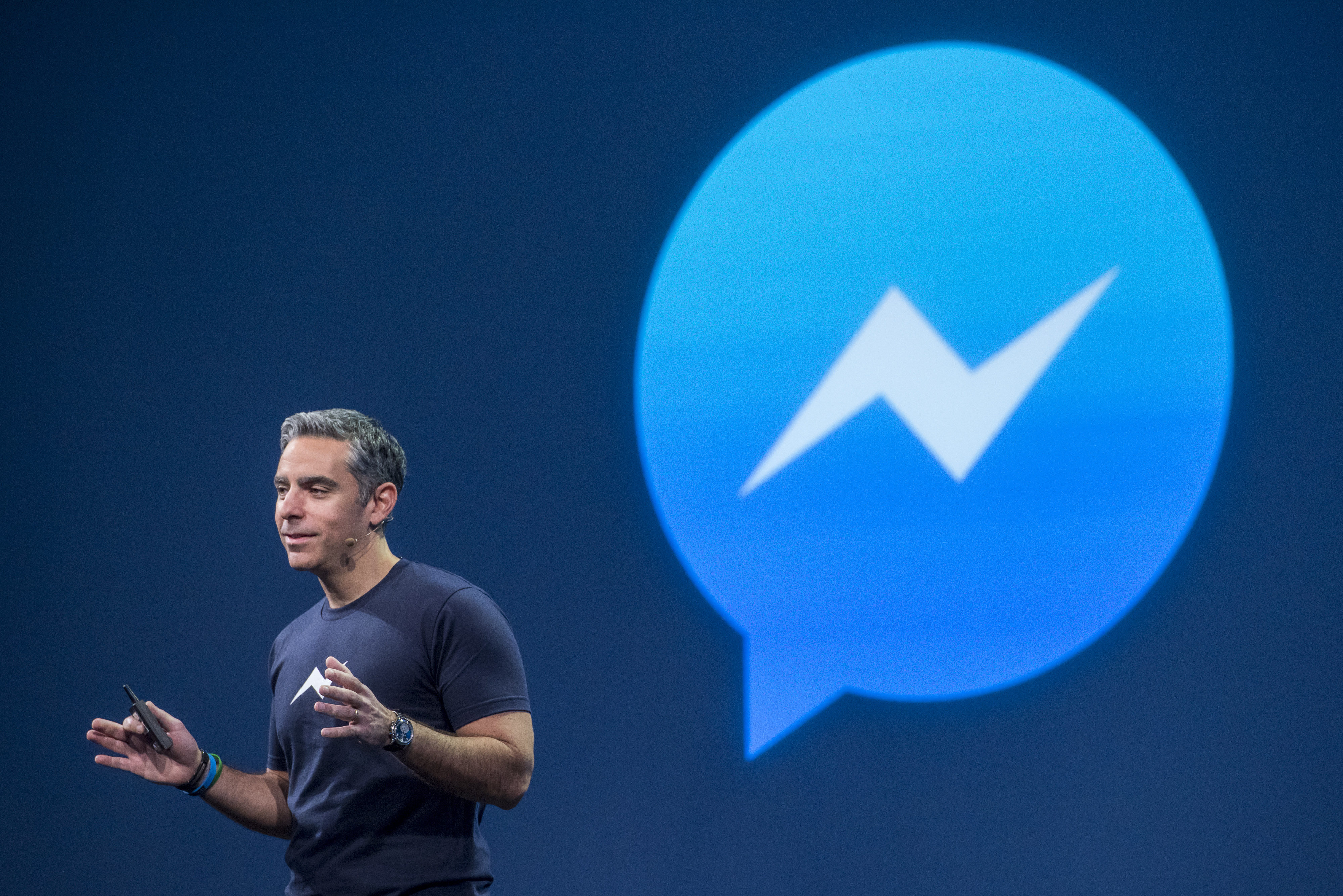 David Marcus, vice president of messaging products at Facebook Inc., speaks during the Facebook F8 Developers Conference in San Francisco, California, U.S., on Wednesday, March 25, 2015.