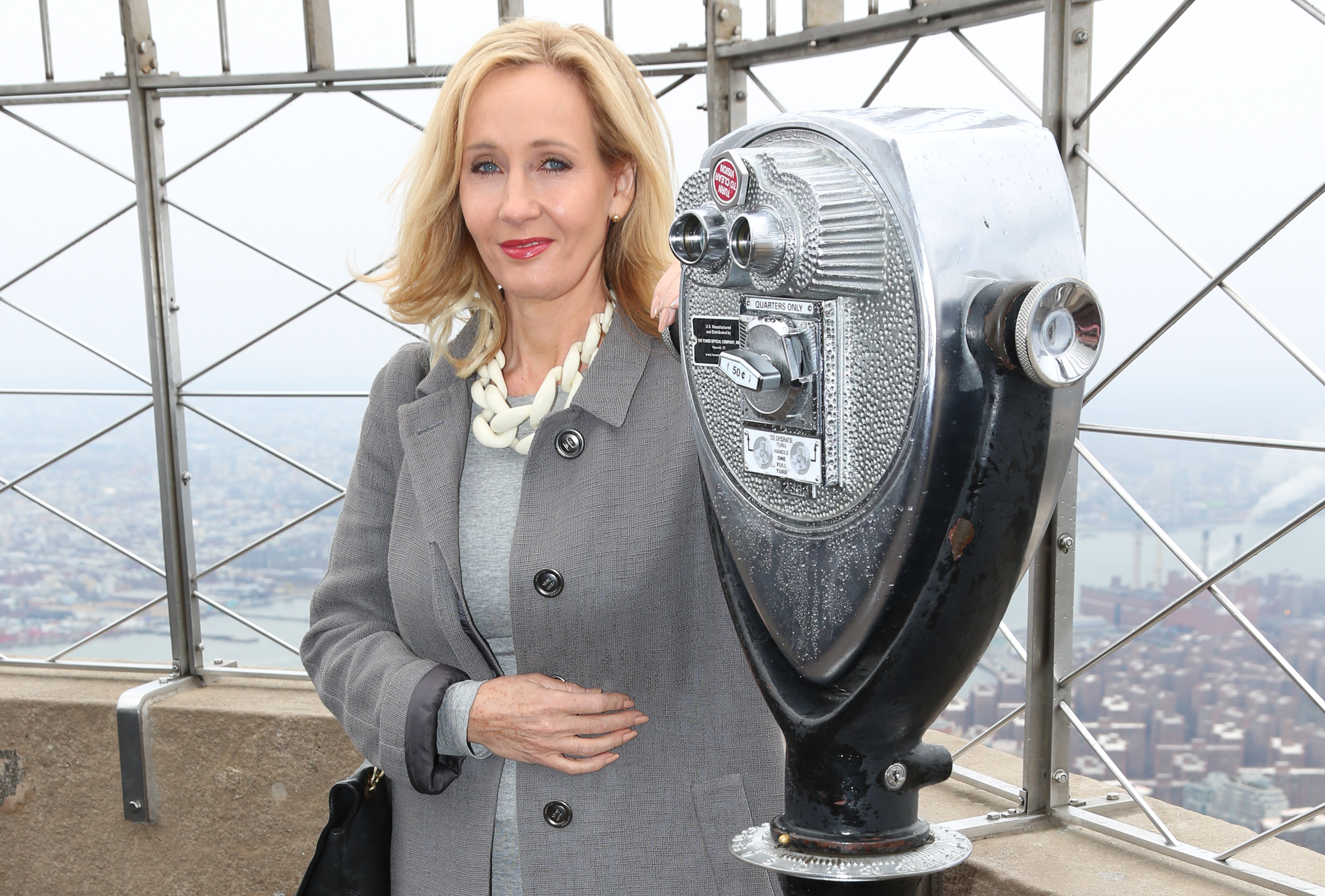 J.K. Rowling illuminates the Empire State Building to mark the USA launch of her non-profit children's organization, Lumos, on April 9, 2015 in New York City.