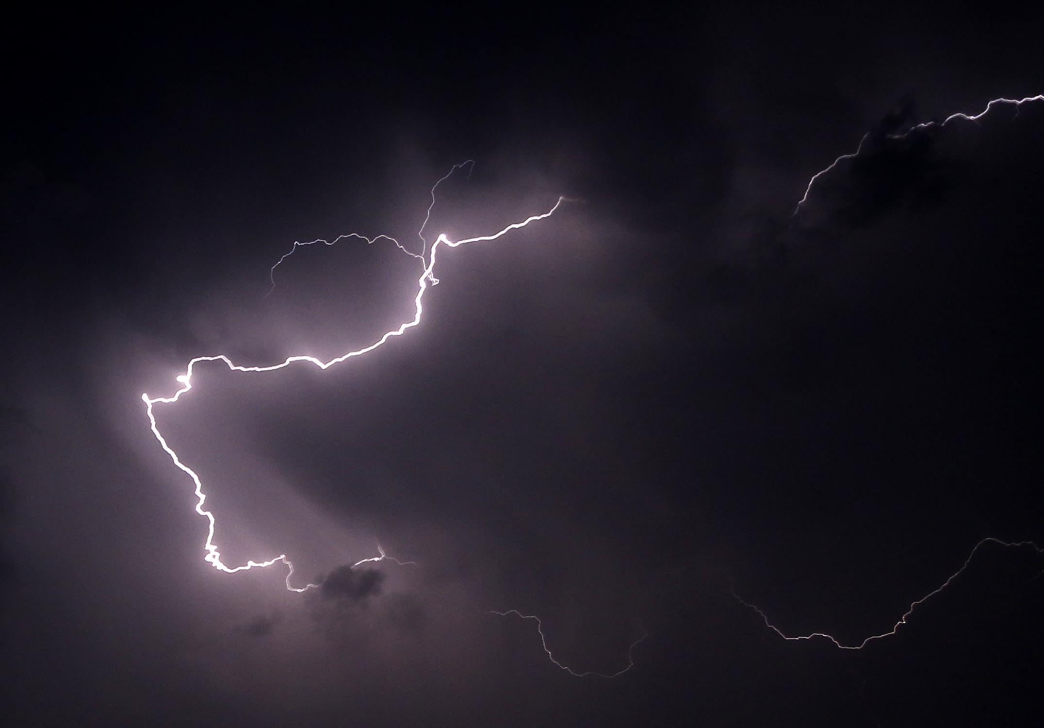 Lightning strikes during a thunderstorm on April 10, 2015 in Jorhat, India.