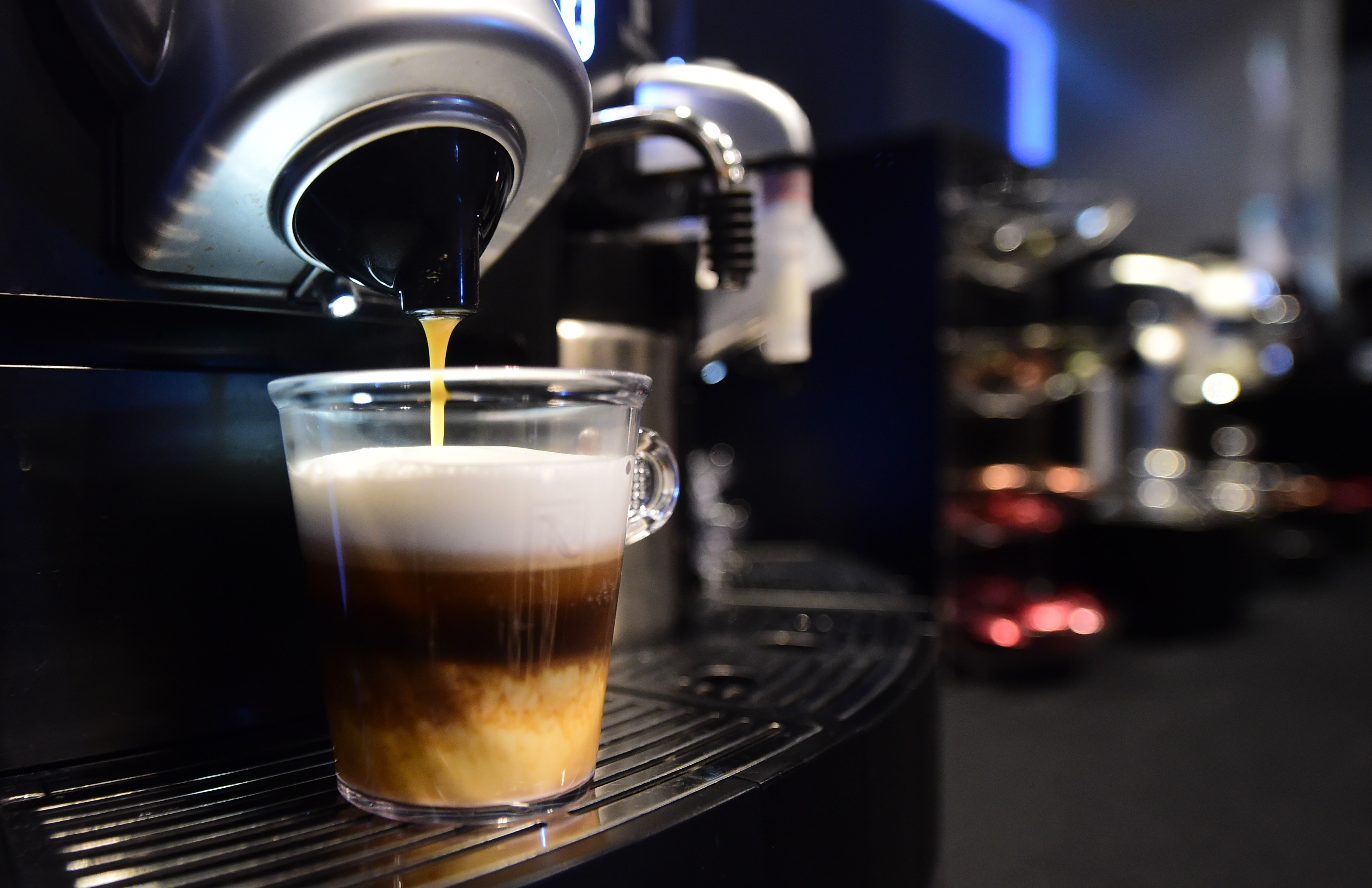 A triple-layered espresso from Nespresso's Gemini CS200 pro coffee machine is prepared at The Luxury Technology Show, produced by RAND Luxury in Hollywood, California on September 30, 2015