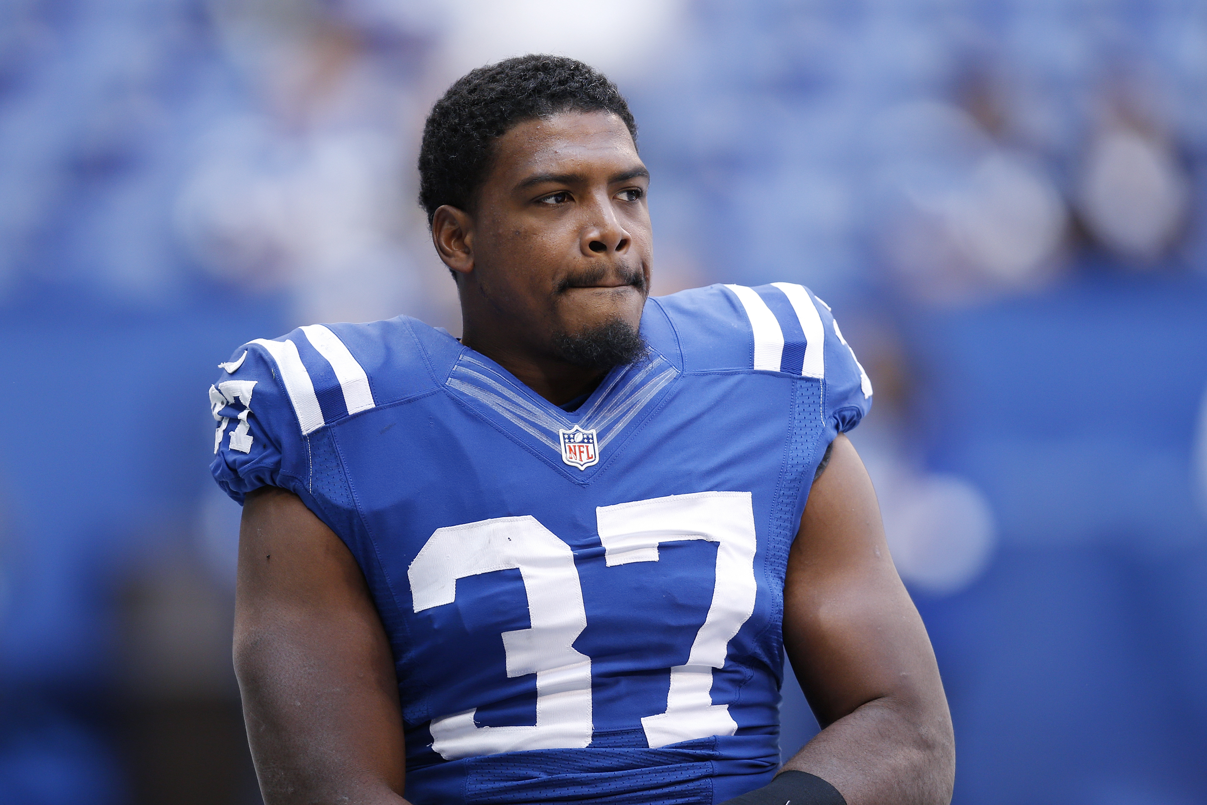 Zurlon Tipton of the Indianapolis Colts looks on during a game against the New Orleans Saints at Lucas Oil Stadium in Indianapolis on Oct. 25, 2015