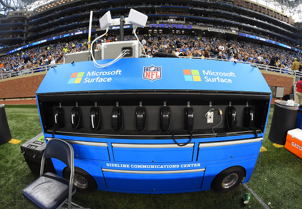 DETROIT, MI - NOVEMBER 22:  A detailed view of a Microsoft Surface sideline communications center on the sideline during the game between the Oakland Raiders and the Detroit Lions at Ford Field on November 22, 2015 in Detroit, Michigan. The Lions defeated the Raiders 18-13.  (Photo by Mark Cunningham/Detroit Lions/Getty Images)