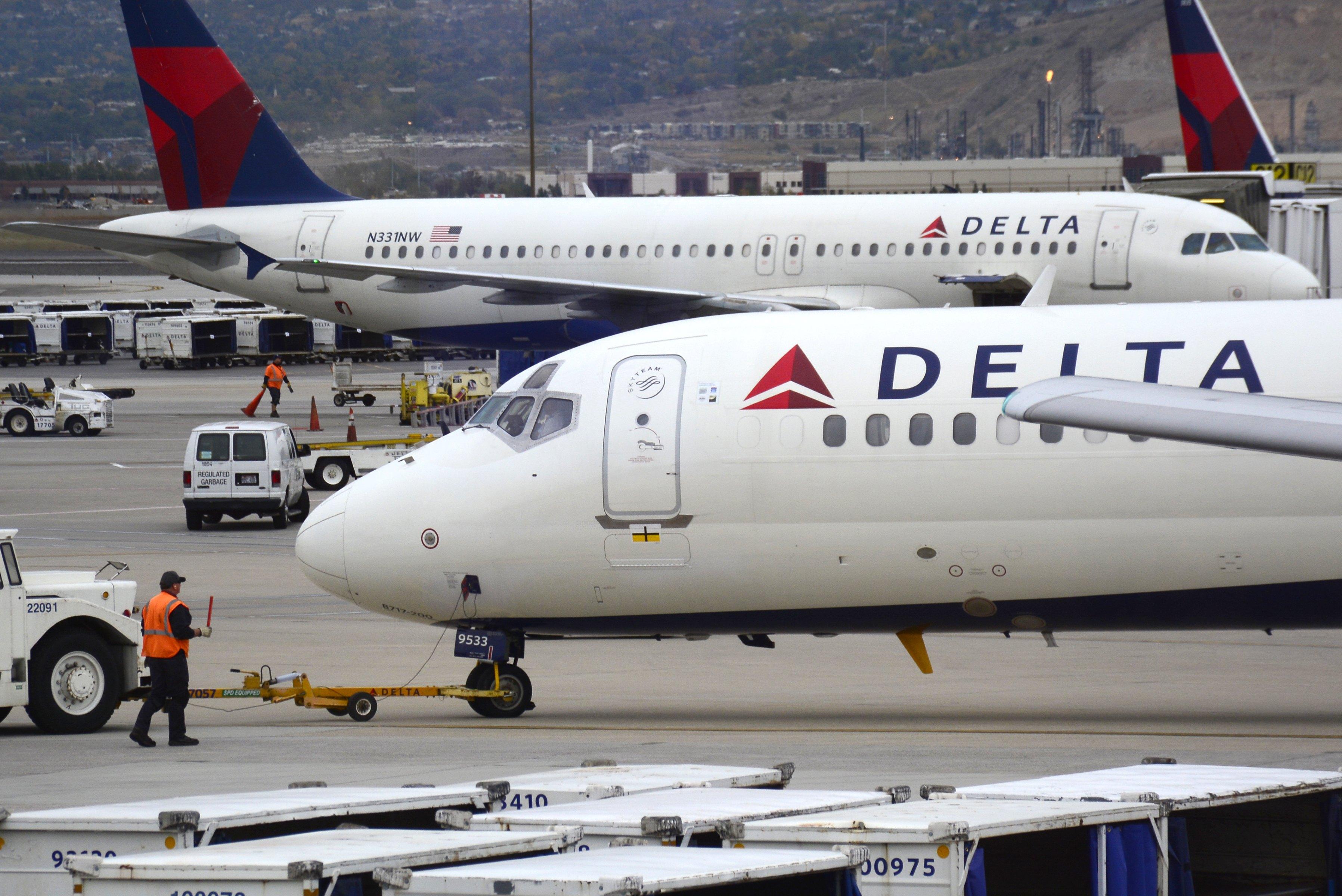 Delta Airlines passenger planes at Salt Lake City International Airport in Salt Lake City, Utah.