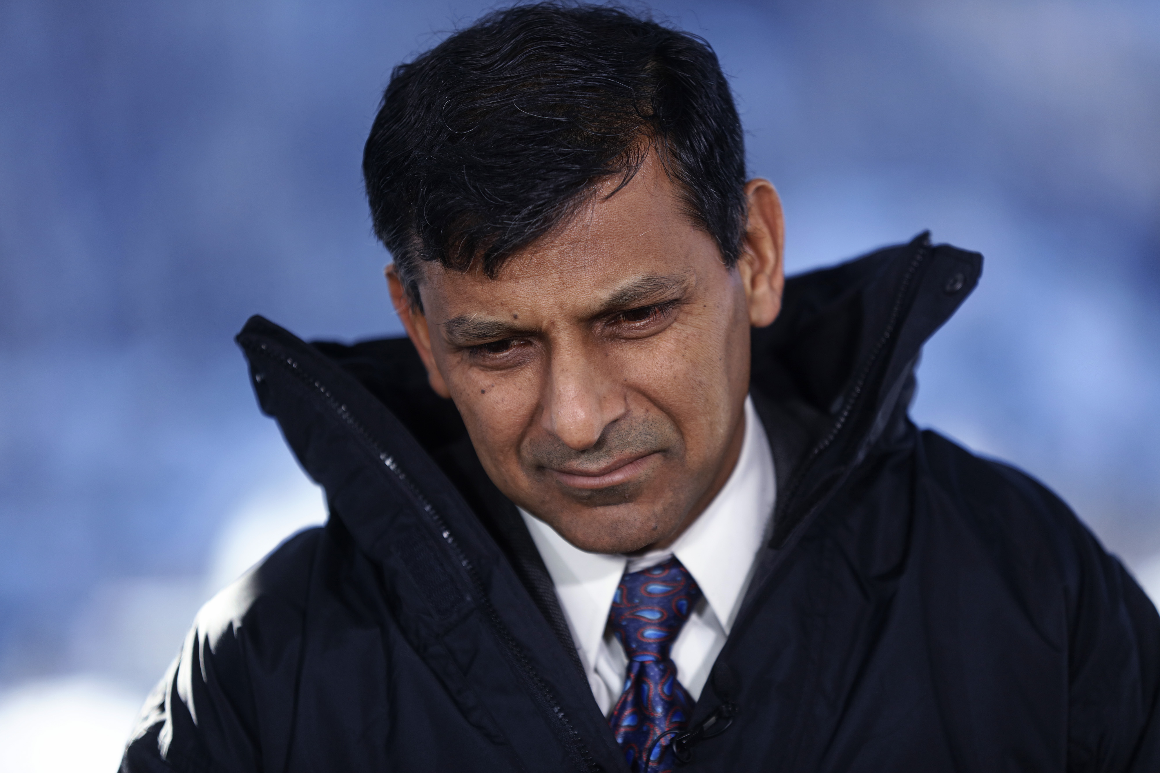 Raghuram Rajan, governor of the Reserve Bank of India (RBI), looks on during a Bloomberg Television interview at the World Economic Forum (WEF) in Davos, Switzerland, on Thursday, Jan. 21, 2016.