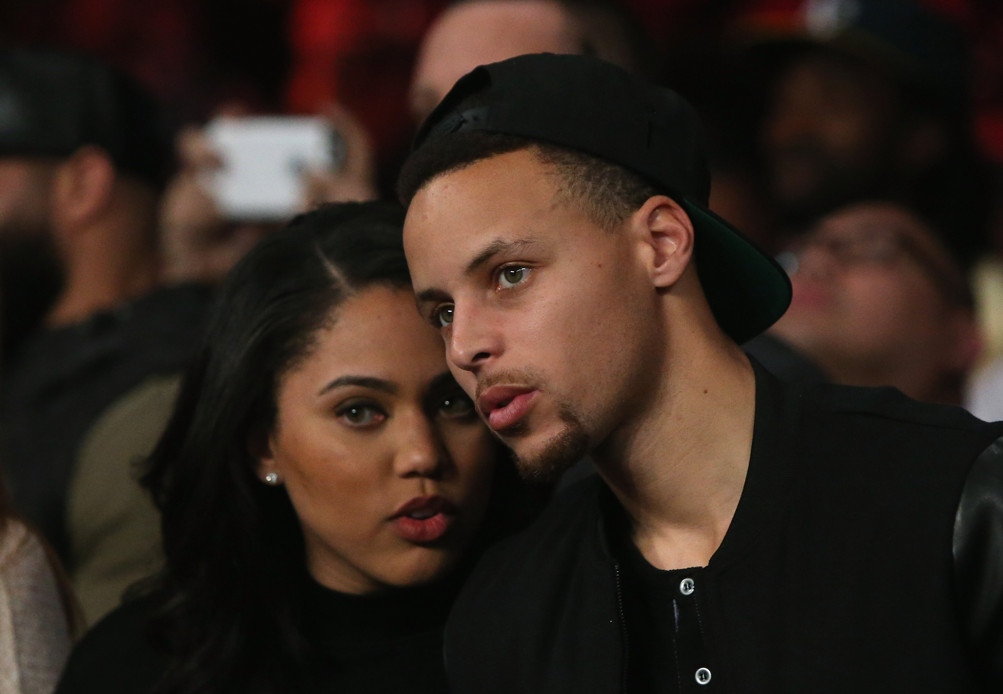 Stephen Curry of the Golden State Warriors and his wife Ayesha attend the Andre Ward fight against Sullivan Barrera in their IBF Light Heavyweight bout at ORACLE Arena on March 26, 2016, in Oakland, Calif.