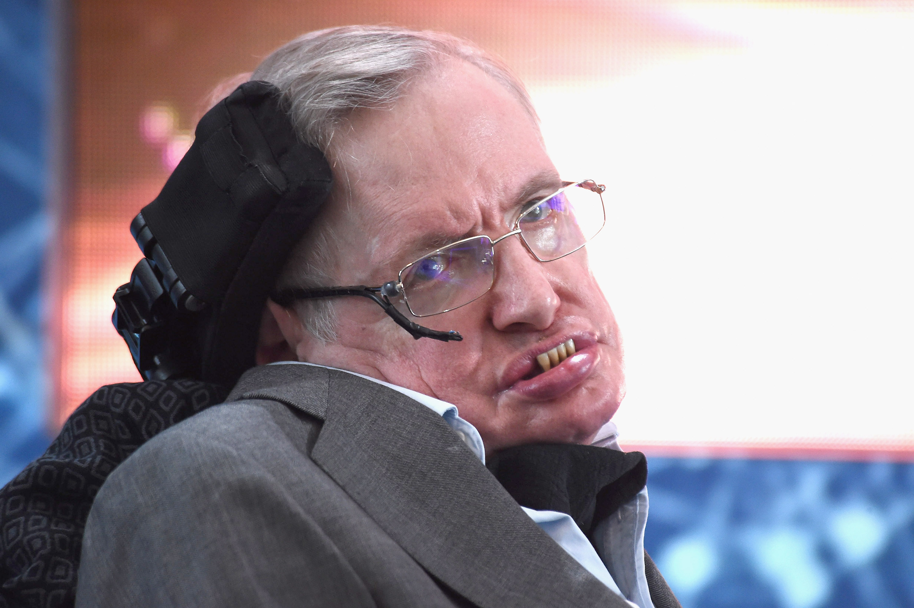 Cosmologist Stephen Hawking attends the New Space Exploration Initiative  Breakthrough Starshot  on April 12, 2016, in New York City