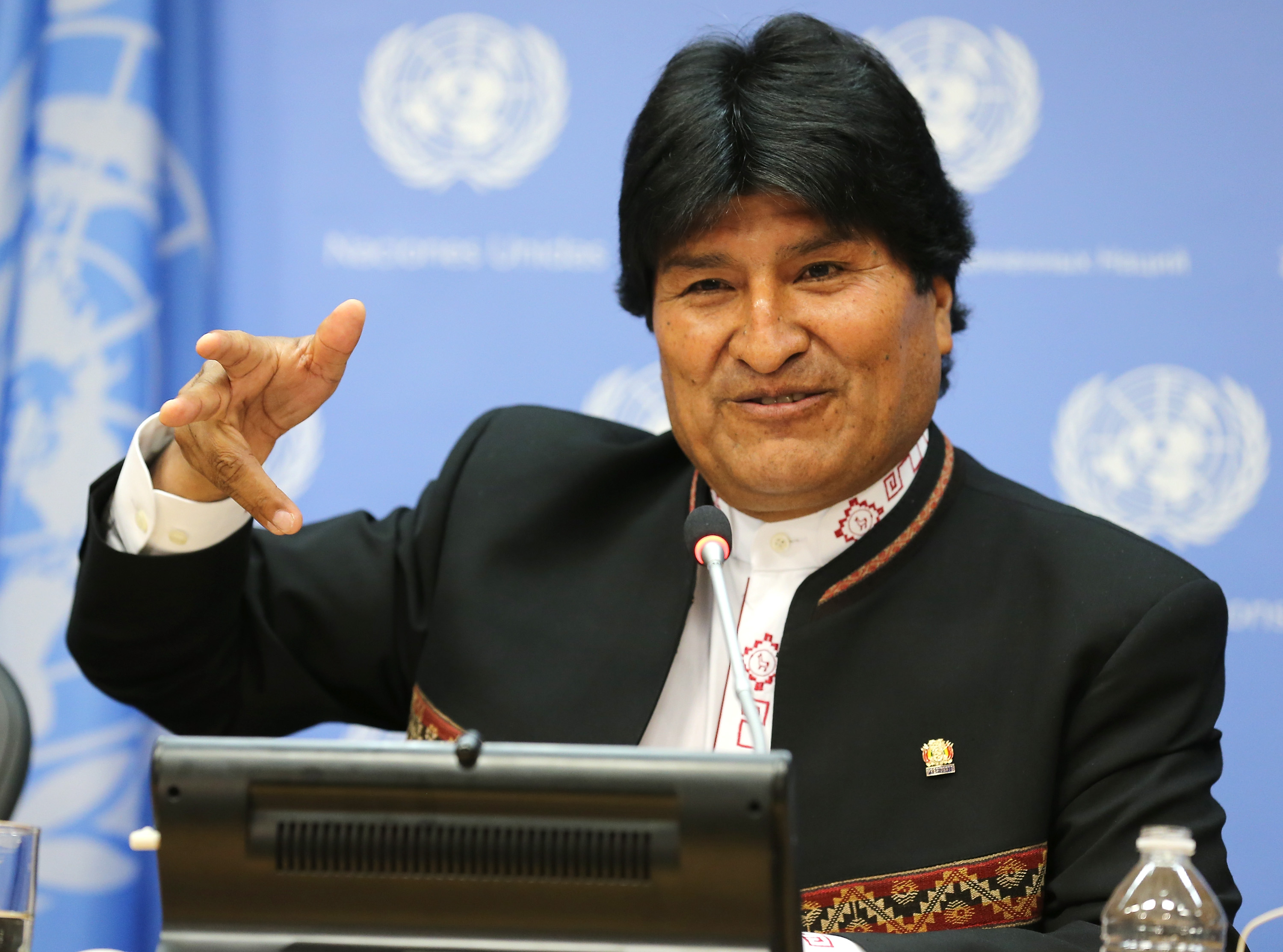 President of Bolivia Evo Morales Ayma speaks during a press conference at United Nations on April 21, 2016 in New York City.