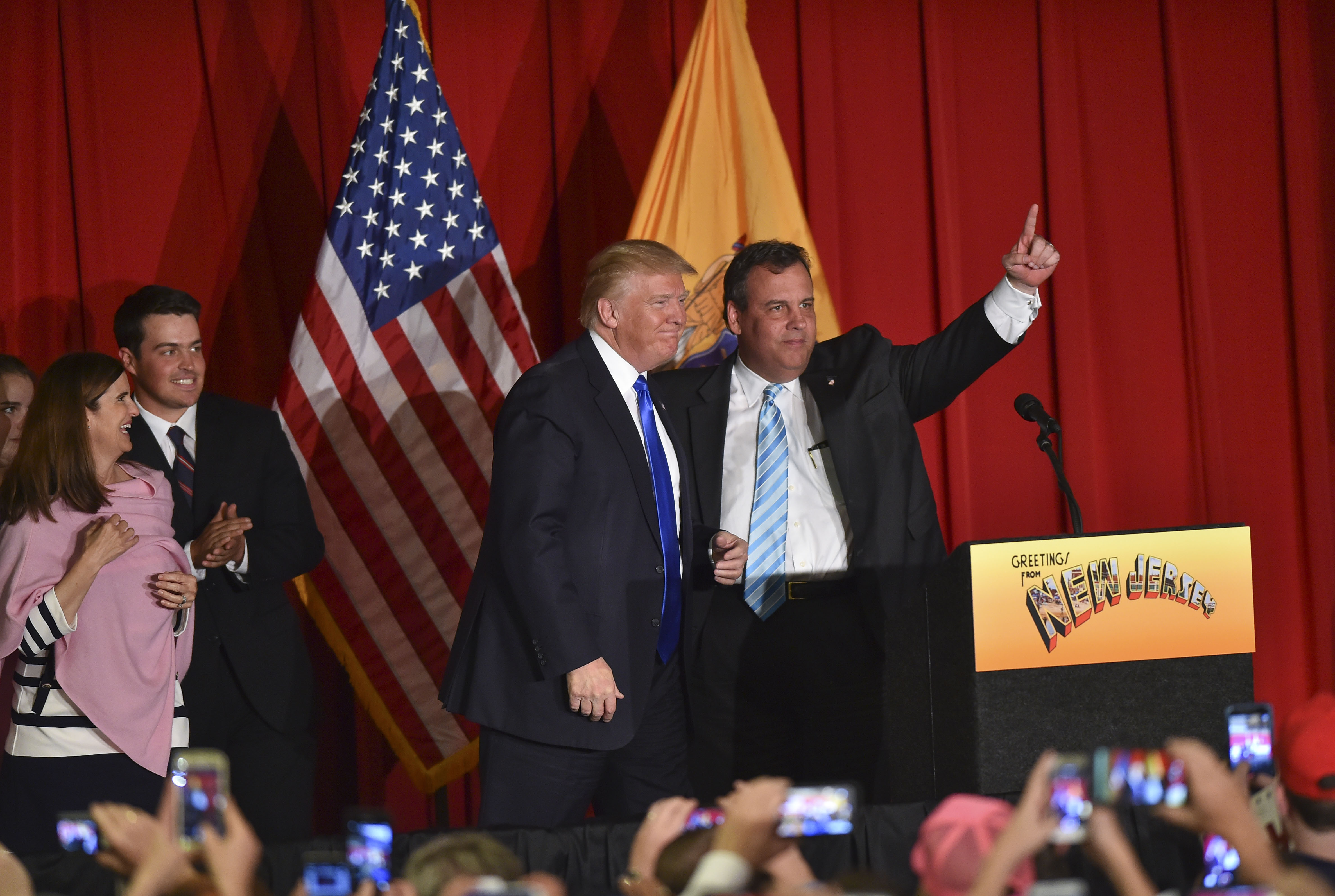 Republican presidential candidate Donald Trump and supporter, New Jersey Governor Chris Christie, (Ricky Carioti--The Washington Post via Getty Images)