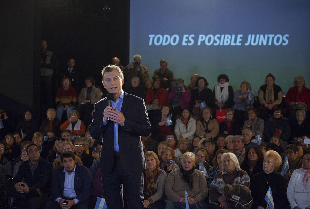 Mauricio Macri, Argentina's president, speaks during an event in Buenos Aires on May 27, 2016.