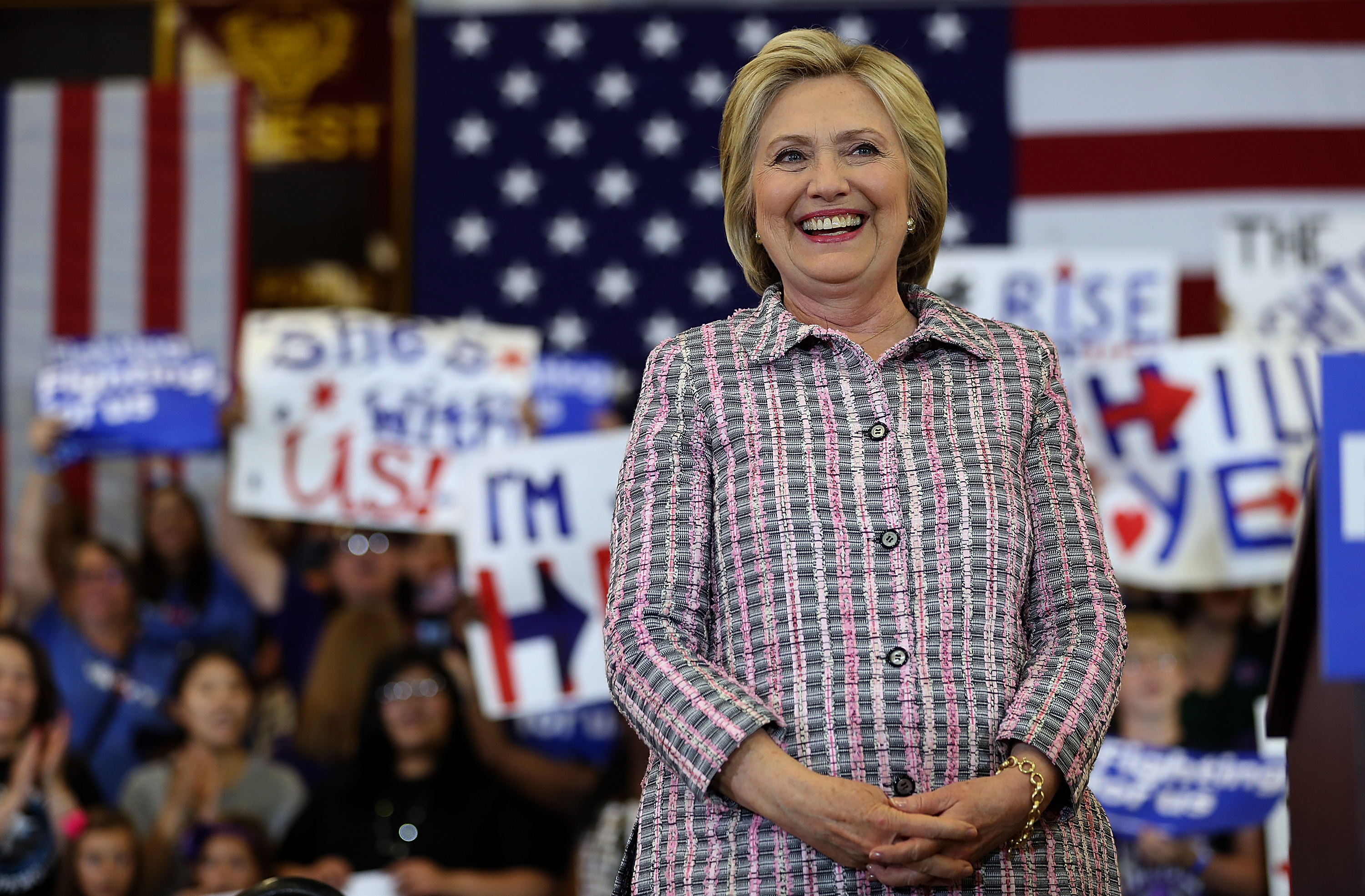 Democratic presidential candidate former Secretary of State Hillary Clinton looks on during a campaign rally at Sacramento City College on June 5, 2016 in Sacramento, California. The California primary is June 7.  Justin Sullivan—Getty Images