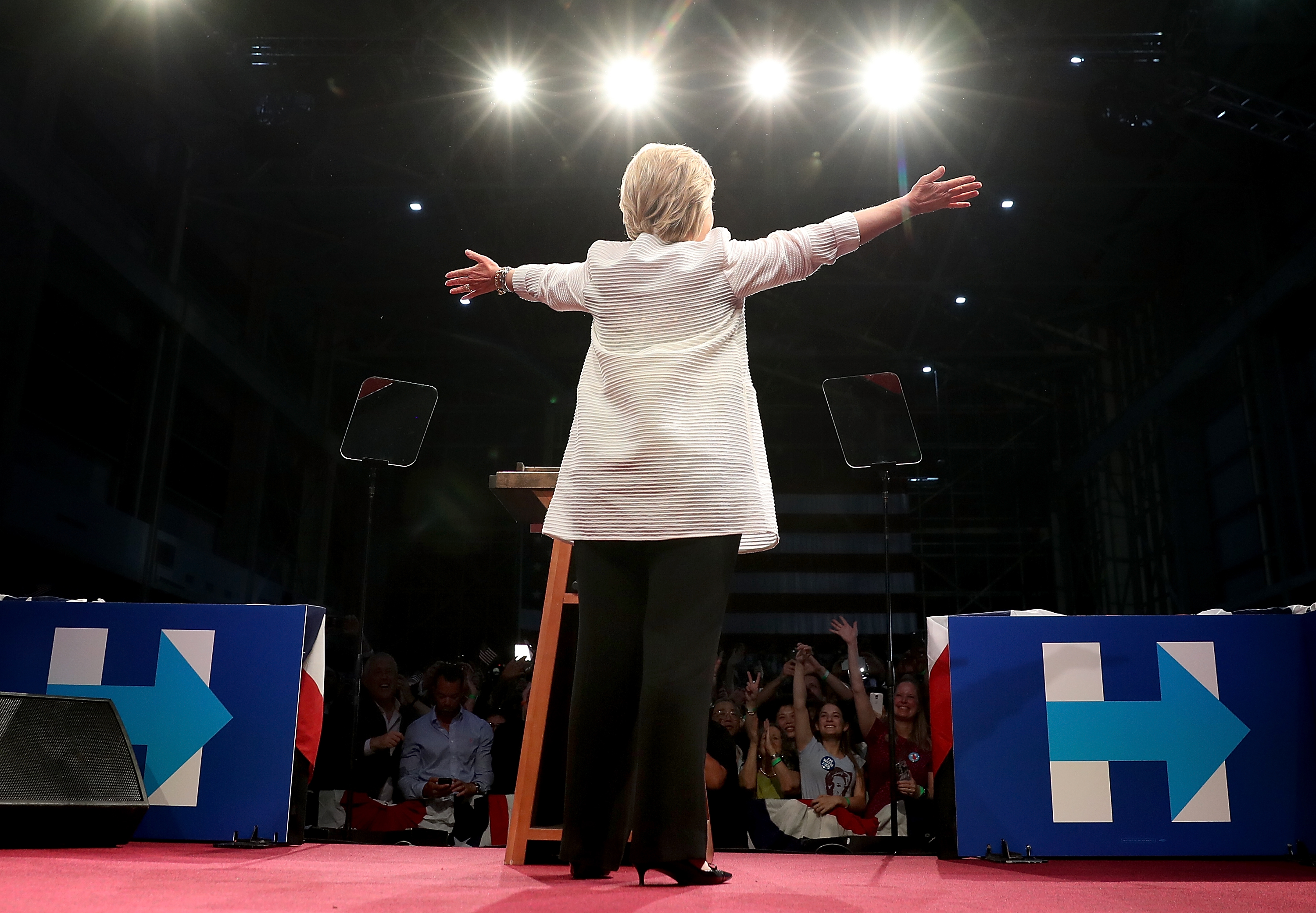 Democratic presidential candidate former Secretary of State Hillary Clinton greets supporters during a primary night event on June 7, 2016 in Brooklyn, New York.  Hillary Clinton beat rival Bernie Sanders in the New Jersey presidential primary.  (Justin Sullivan--Getty Images)
