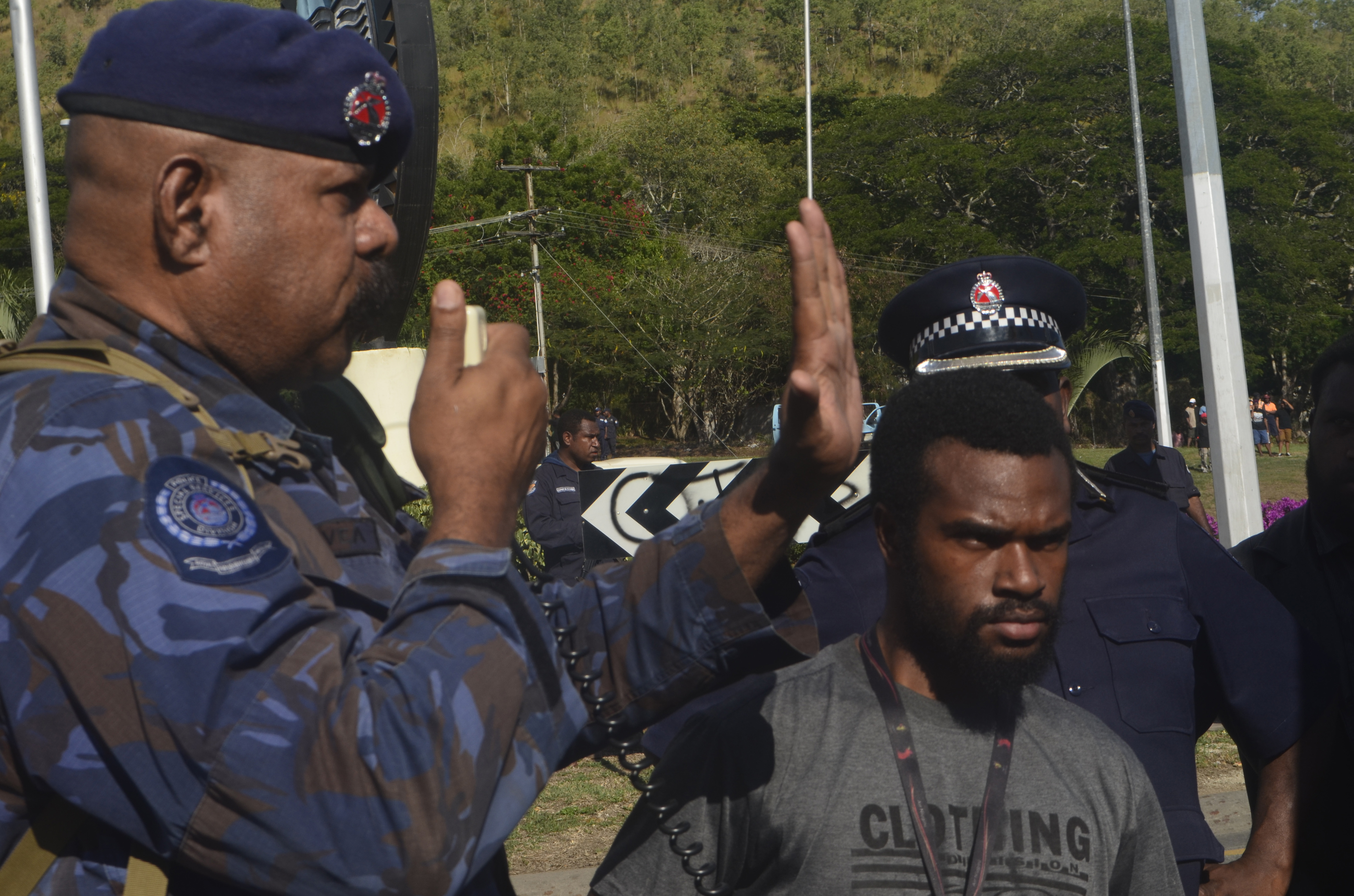 In this handout image provided by PNGFM News, protesters and police are seen during an anti-government protest at the University of Papua New Guinea on June 8, 2016 in Port Moresby