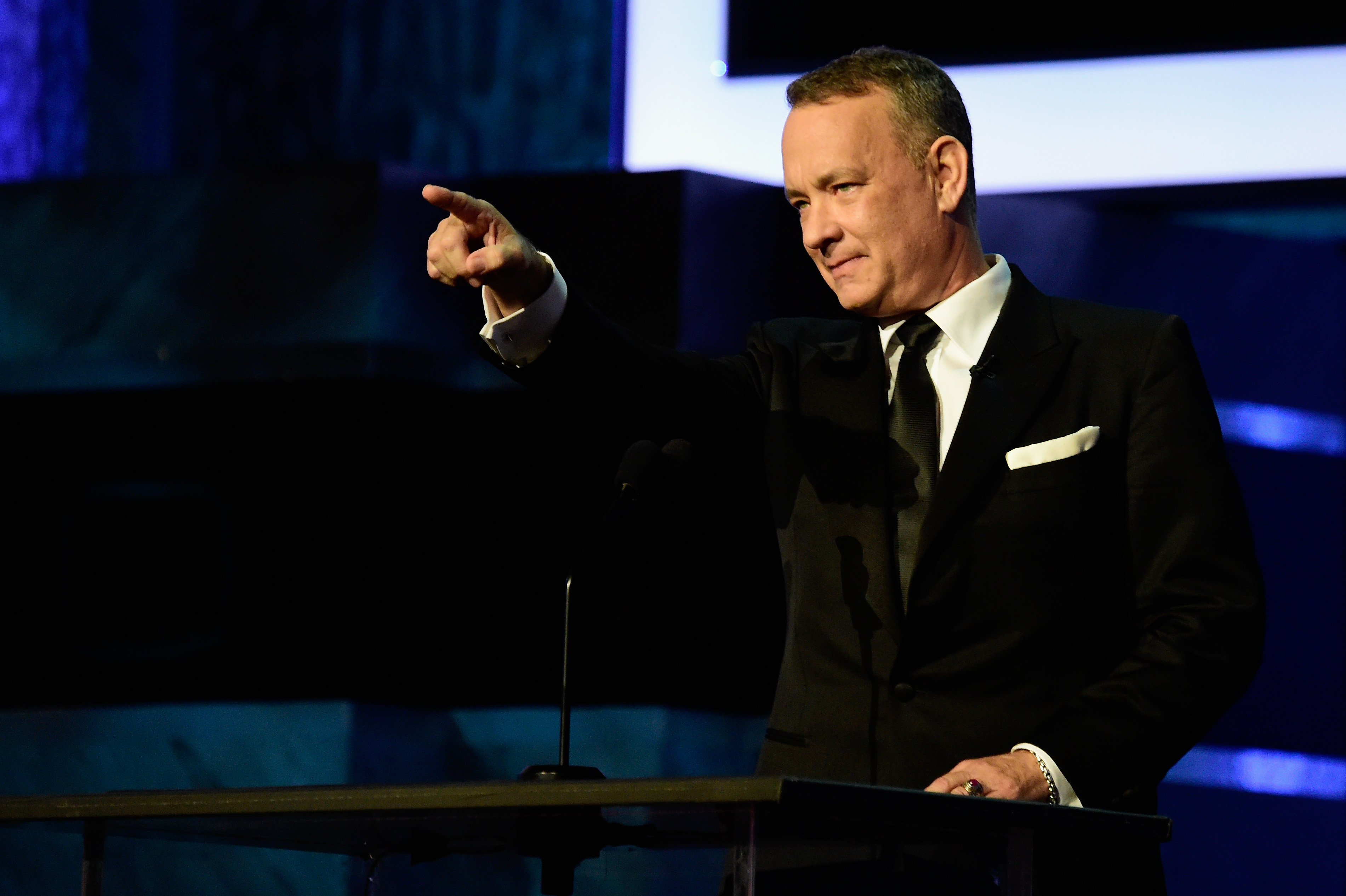 Actor Tom Hanks onstage during American Film Institute's 44th Life Achievement Award Gala Tribute show to John Williams at Dolby Theatre