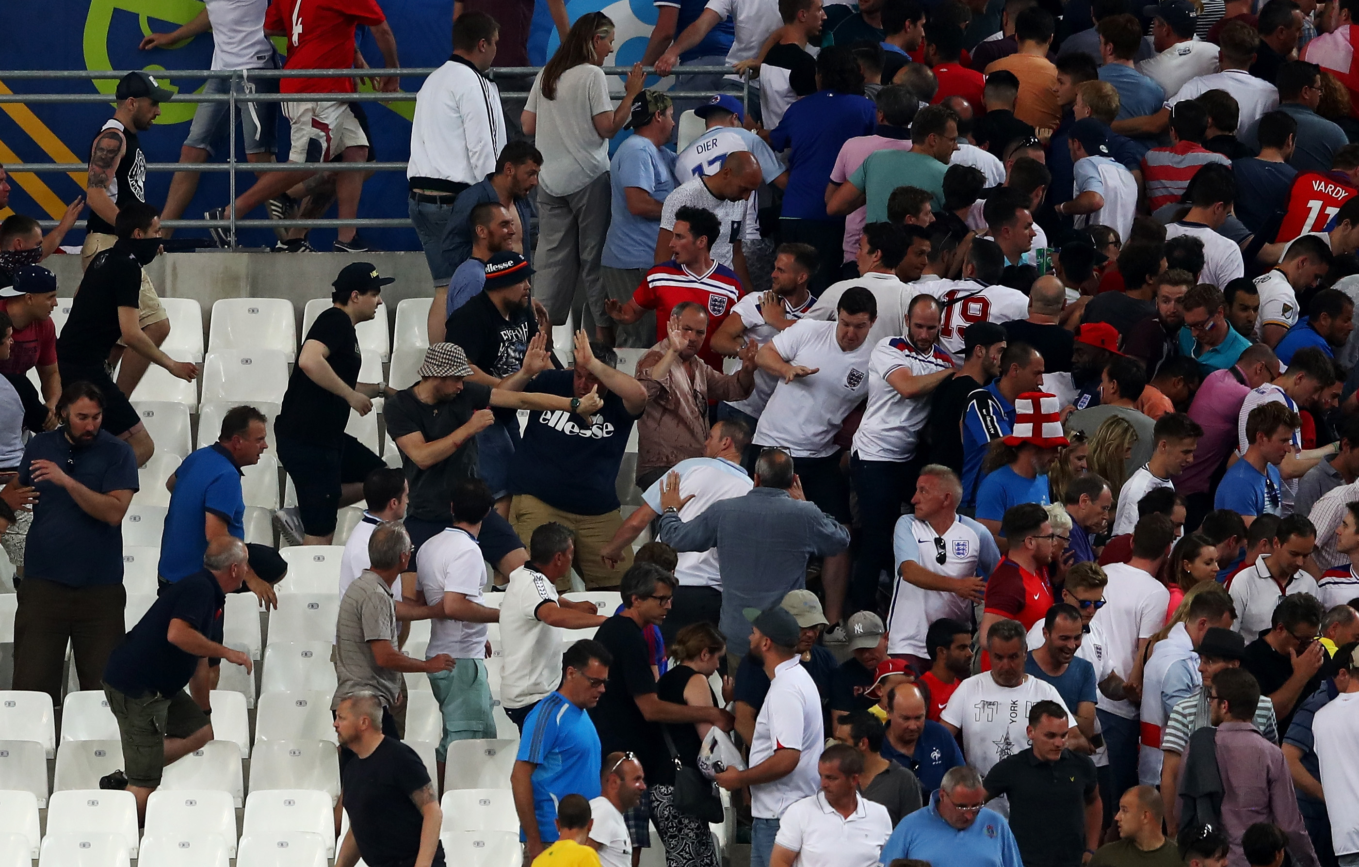 Fans clash after the UEFA EURO 2016 Group B match between England and Russia at Stade Velodrome on June 11, 2016 in Marseille, France.