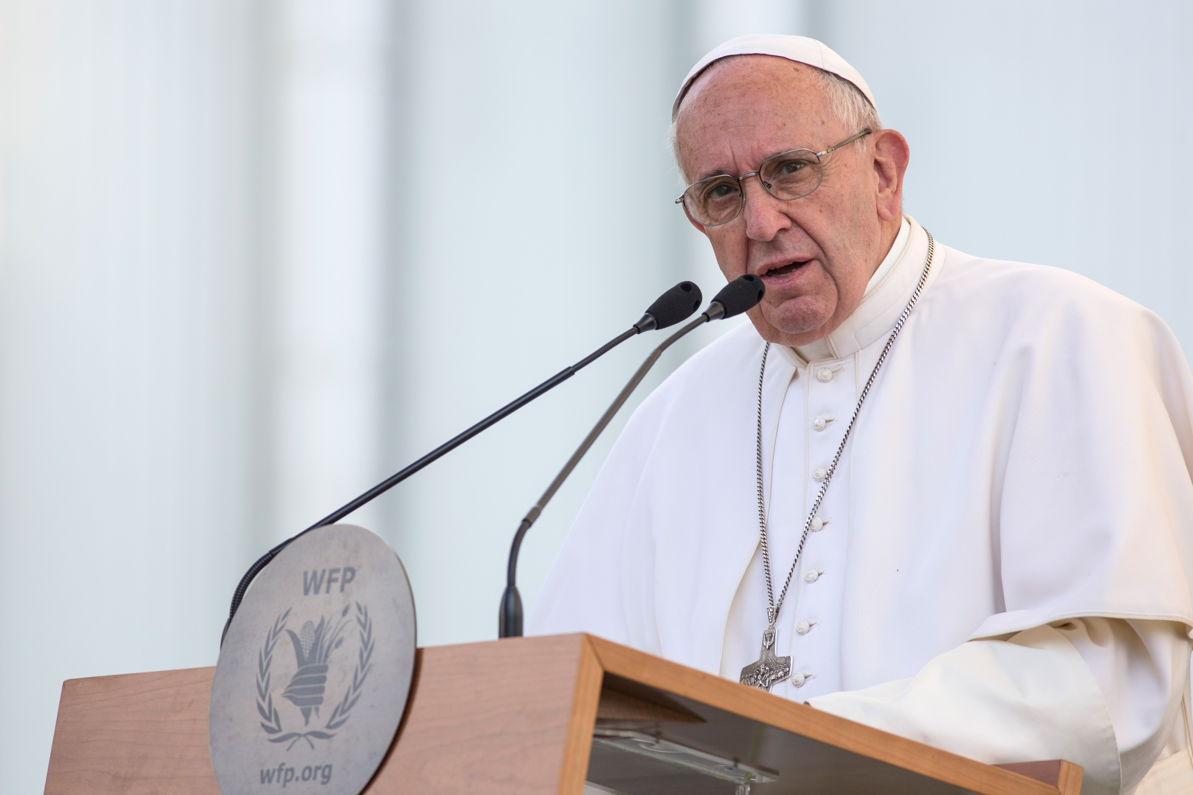 Pope Francis delivers his speech at the The United Nations World Food Programme headquarter on June 13, 2016 in Rome, Italy.